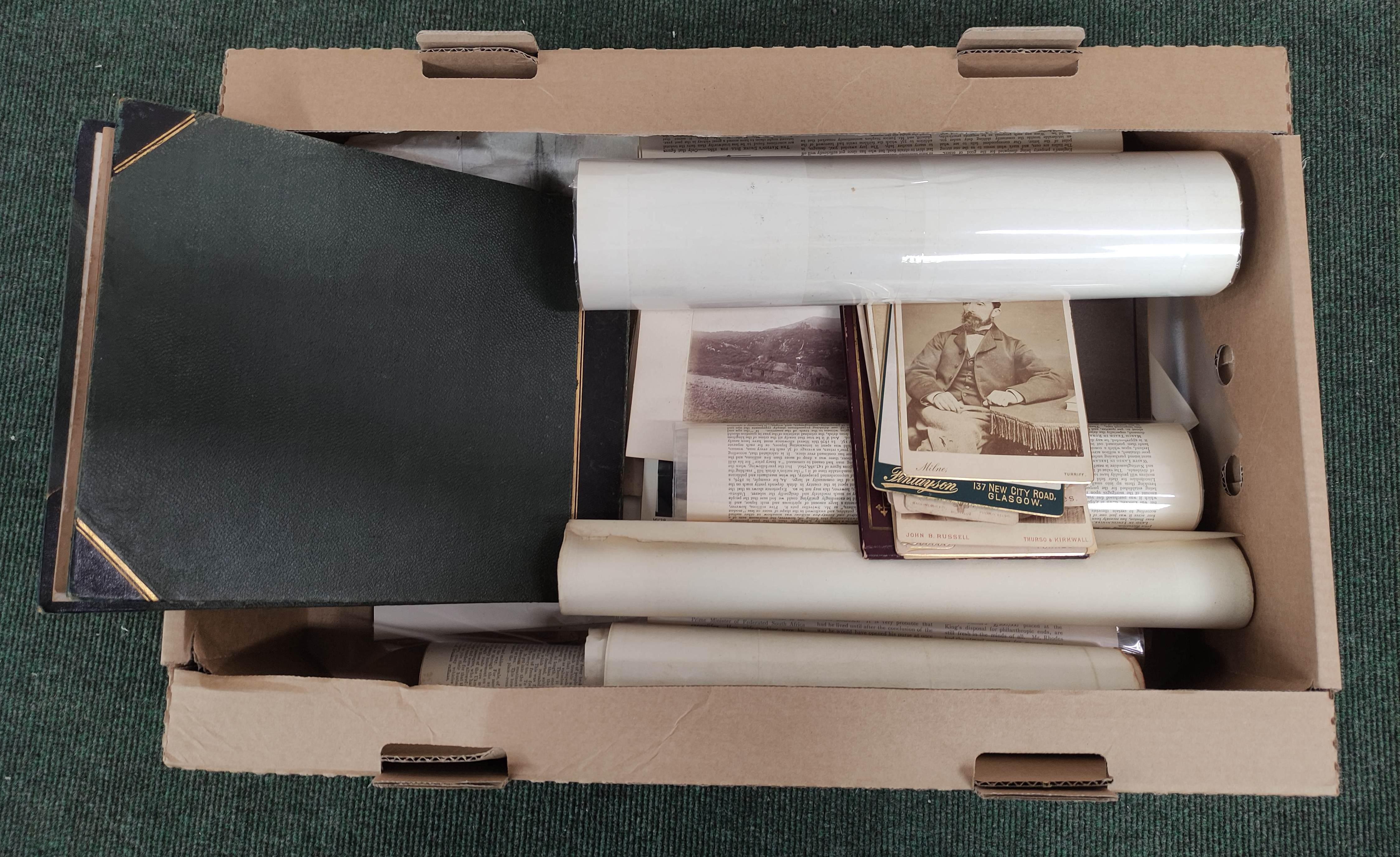 Highlands & Islands & others.A carton of prints & ephemera; also a quarto album of sepia & other