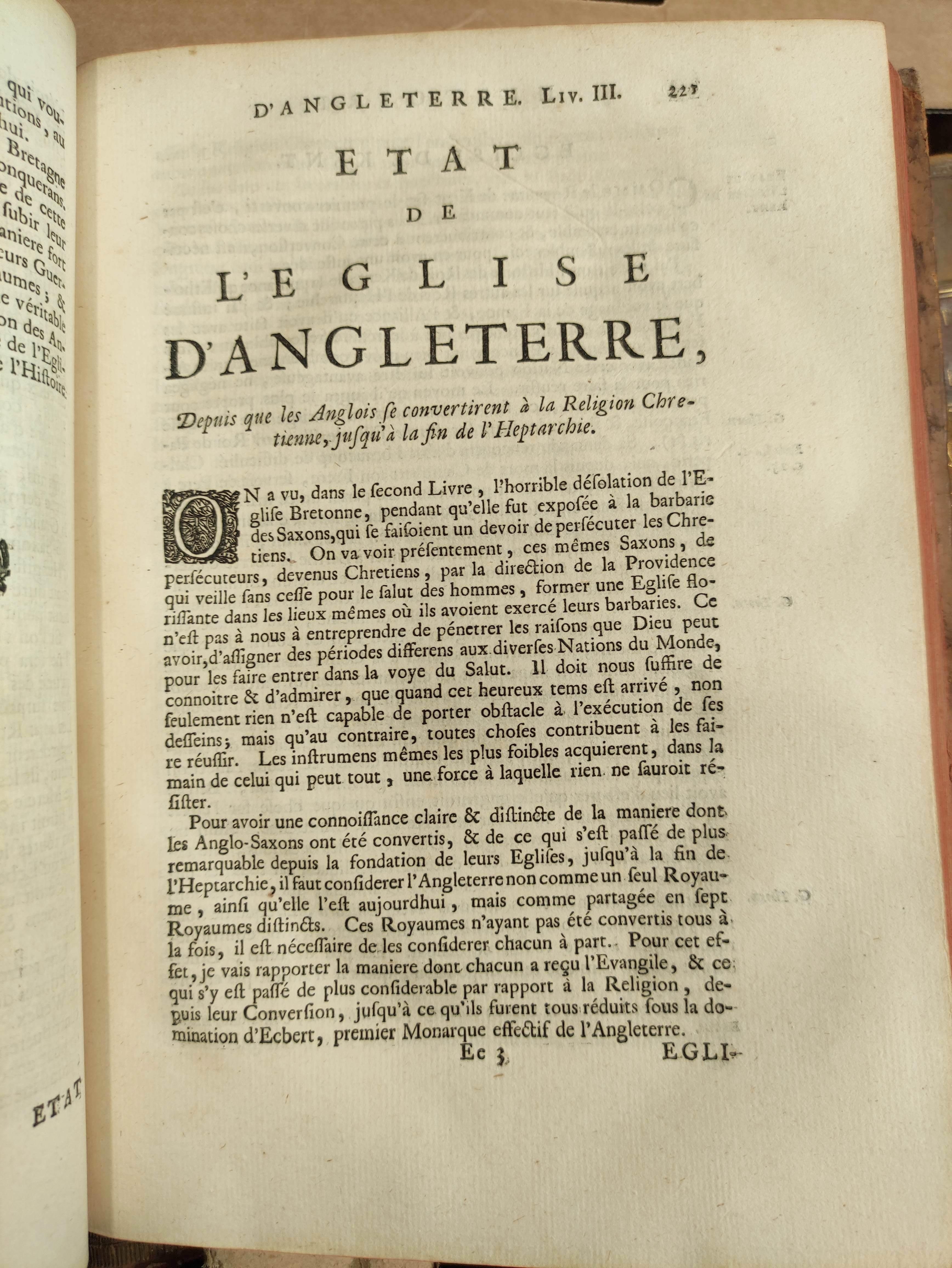 DE RAPIN THOYRAS.Histoire D'Angleterre. 10 vols. Eng. plates, fldg. tables, etc. Quarto. Calf. The - Image 7 of 8