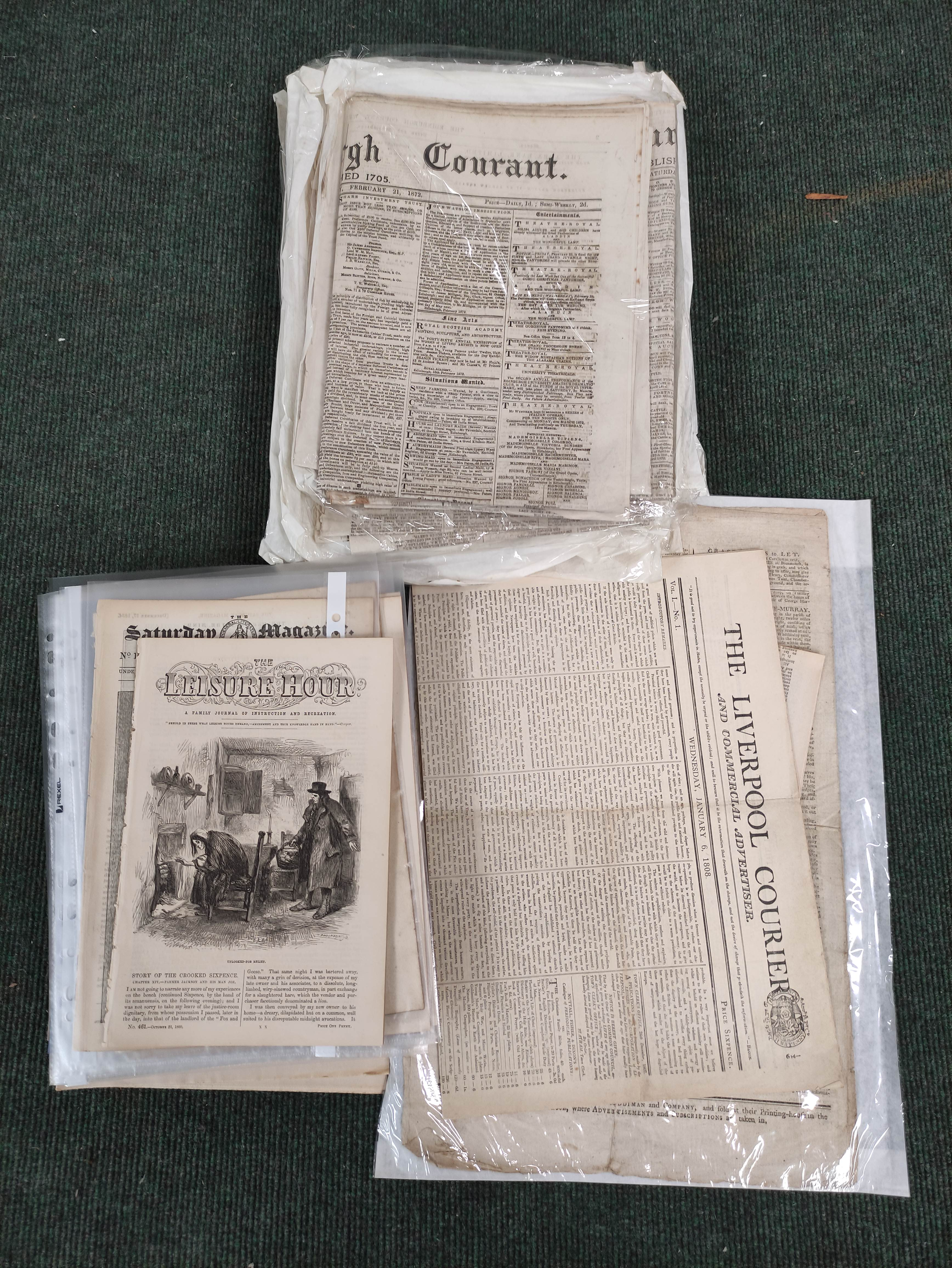 Edinburgh Courant.A bundle of issues of this newspaper, c.1872; also other periodicals incl.
