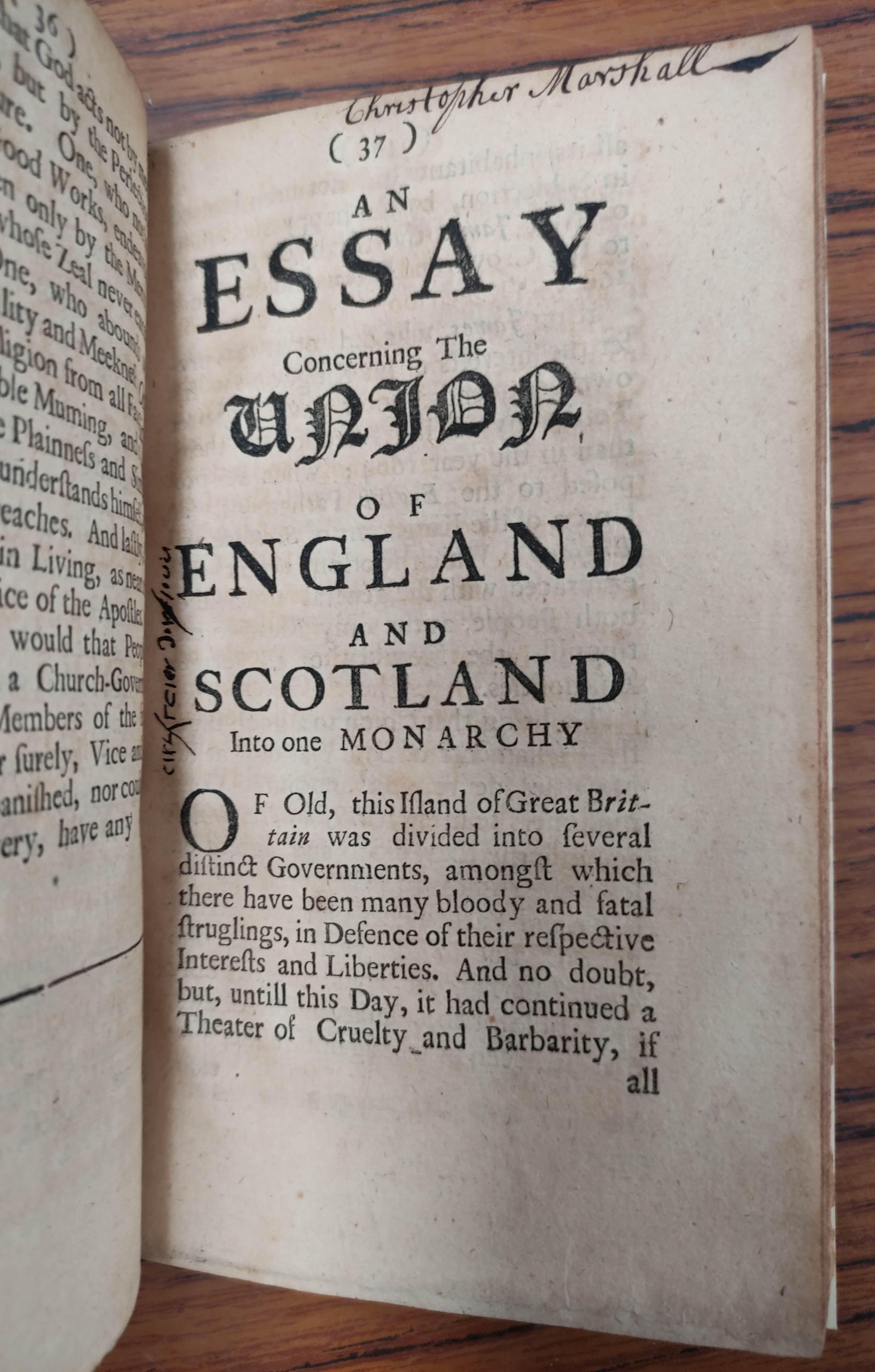 (SETON WILLIAM). The Interest of Scotland in Three Essays. 114pp. Rebound qtr. calf, marbled - Image 4 of 5