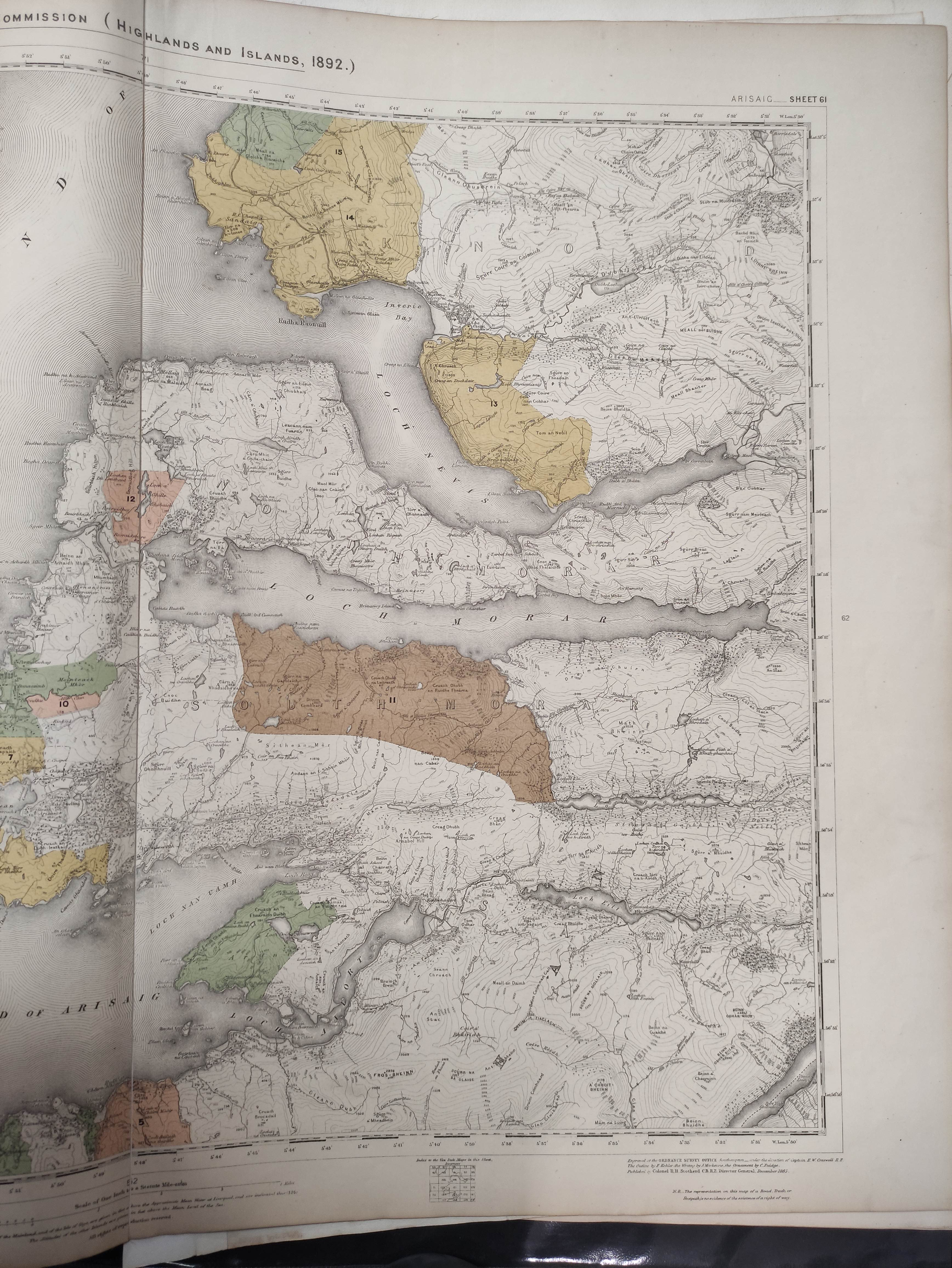 JOHNSON W. & A. K.Map of the County of Inverness with the railways. 4 part eng. map, hand col. - Image 3 of 6
