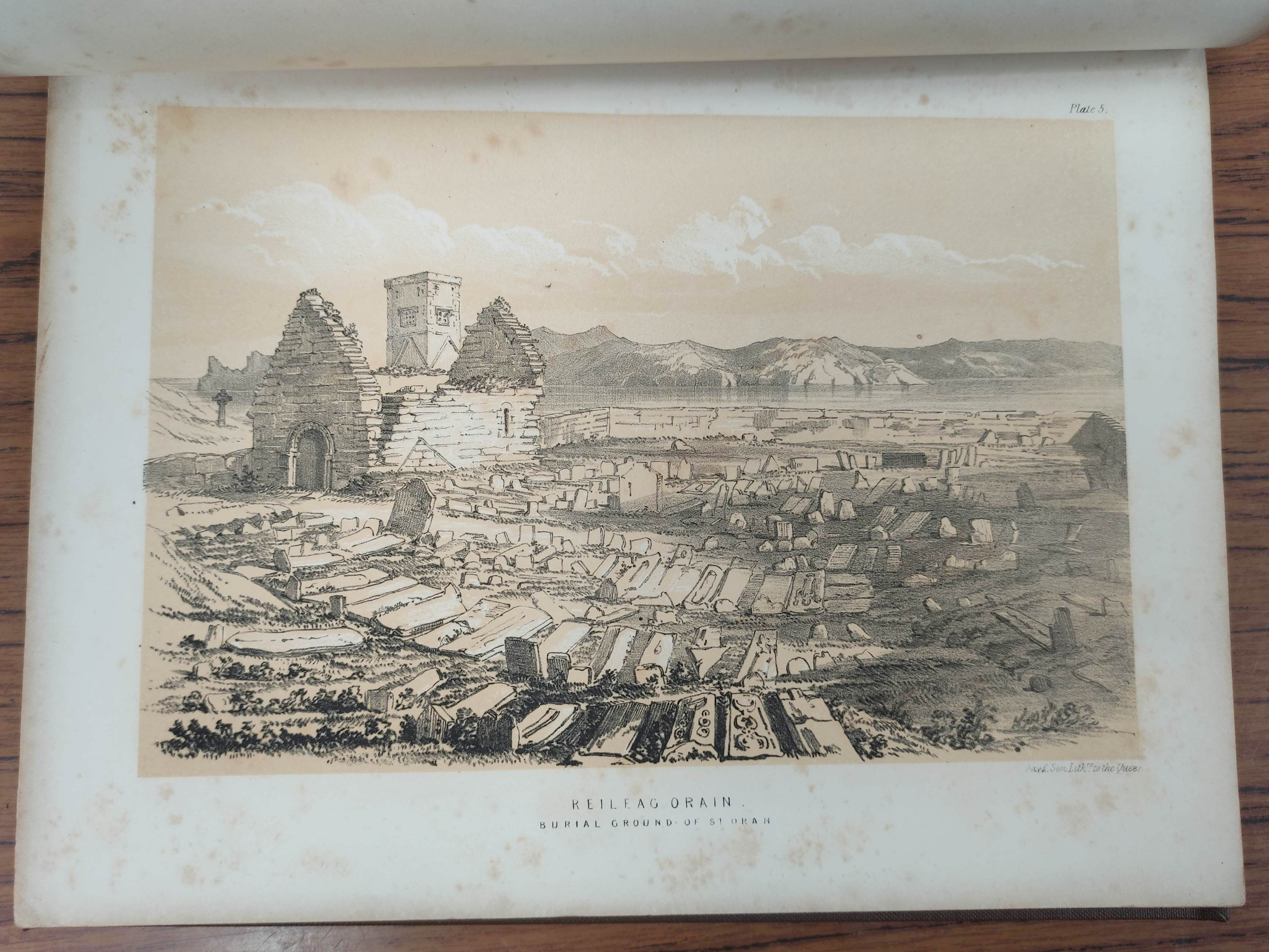 GRAHAM H. D.Antiquities of Iona. Litho frontis, map & plates. Quarto. Rebound qtr. green calf, - Image 10 of 13