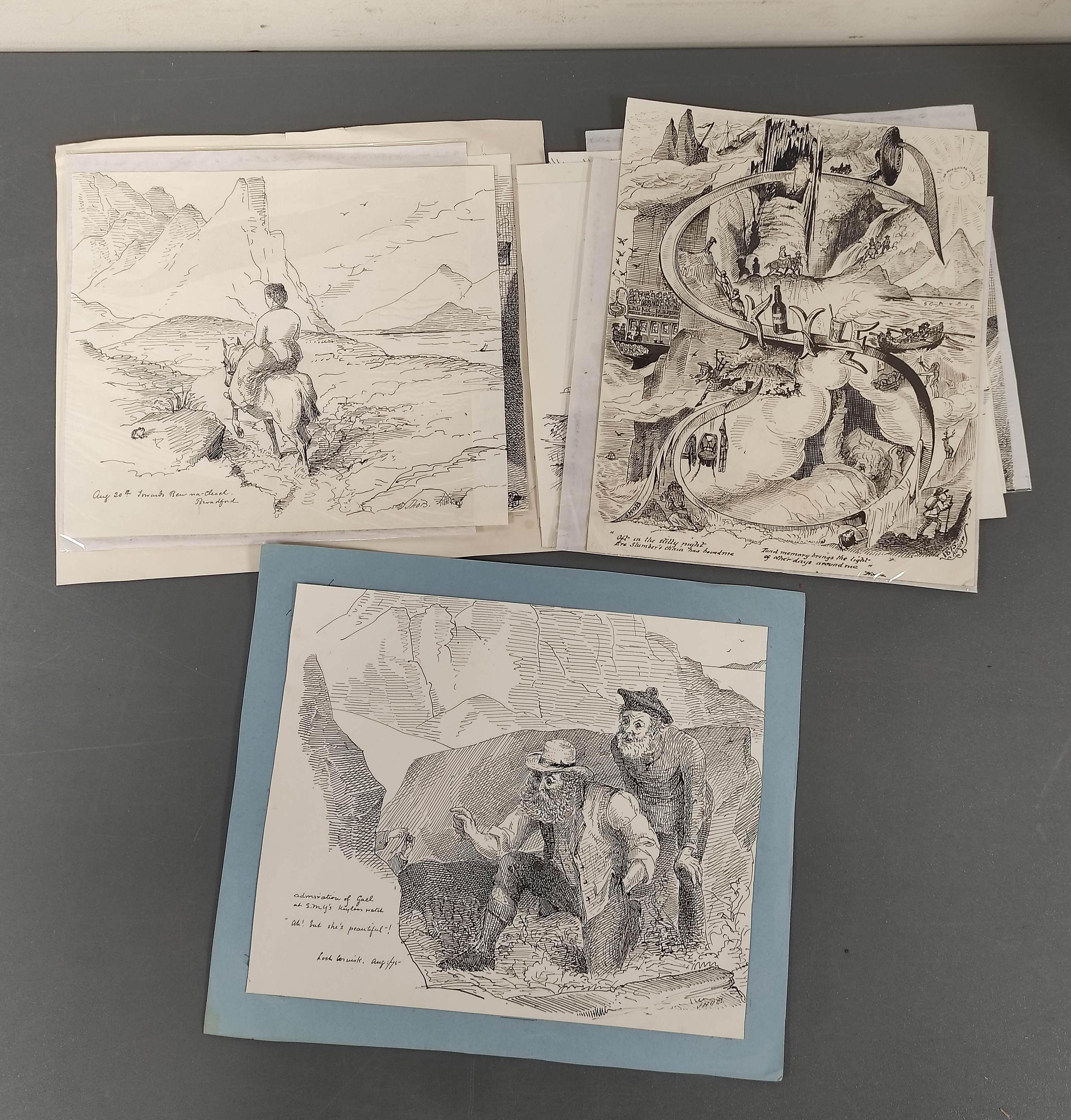 J.H.O.B.- original artwork. 8 comic pen & ink drawings made on a visit to Skye, 1875.
