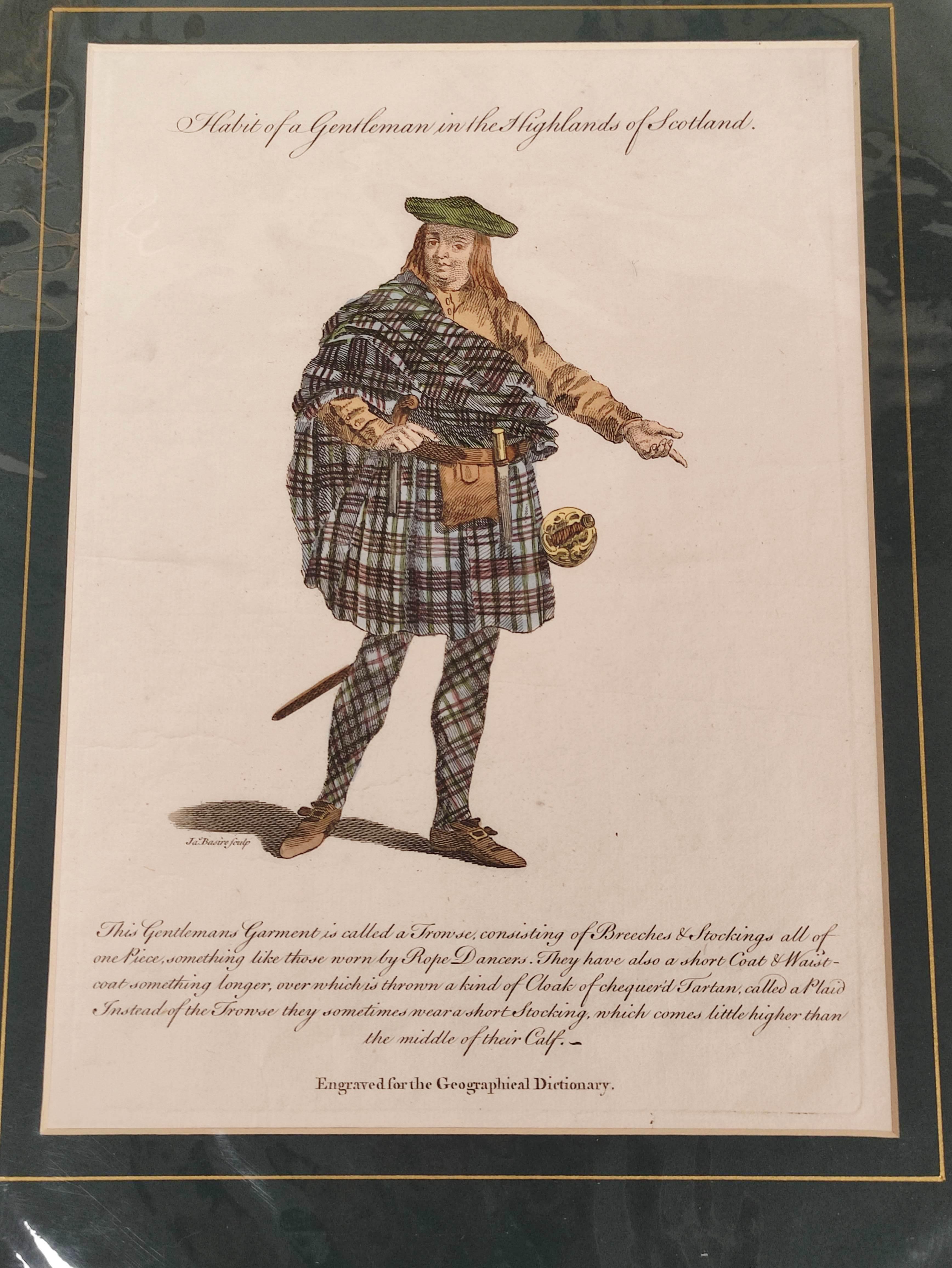 Highland Costume.4 hand coloured engraved plates, 2 framed. - Image 5 of 6