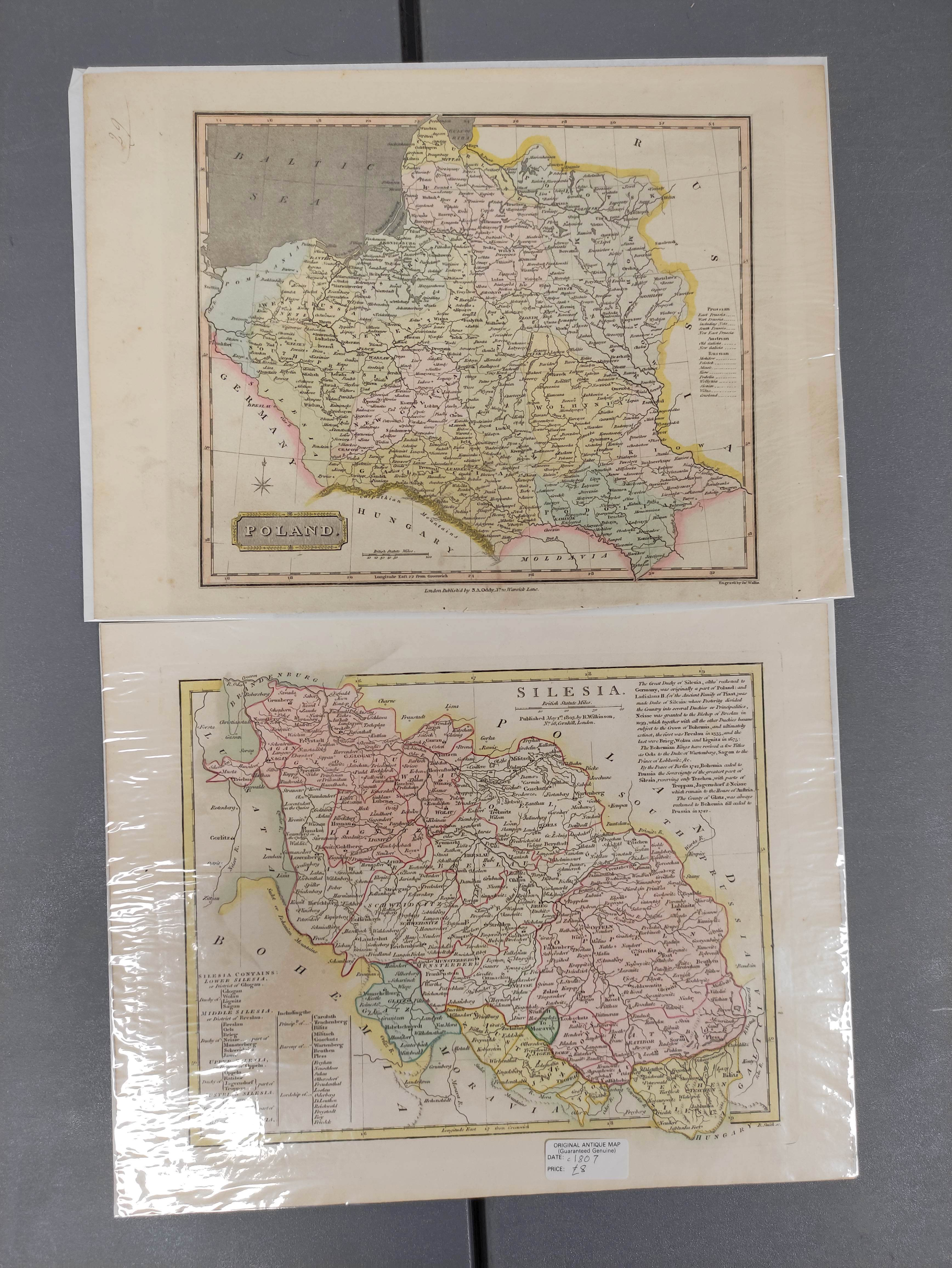 HOMANNIANO HEREDES (Pubs.)Polonia. Hand col. dbl. pge. eng. folio map. 1772; also 5 other eng. maps - Image 6 of 9