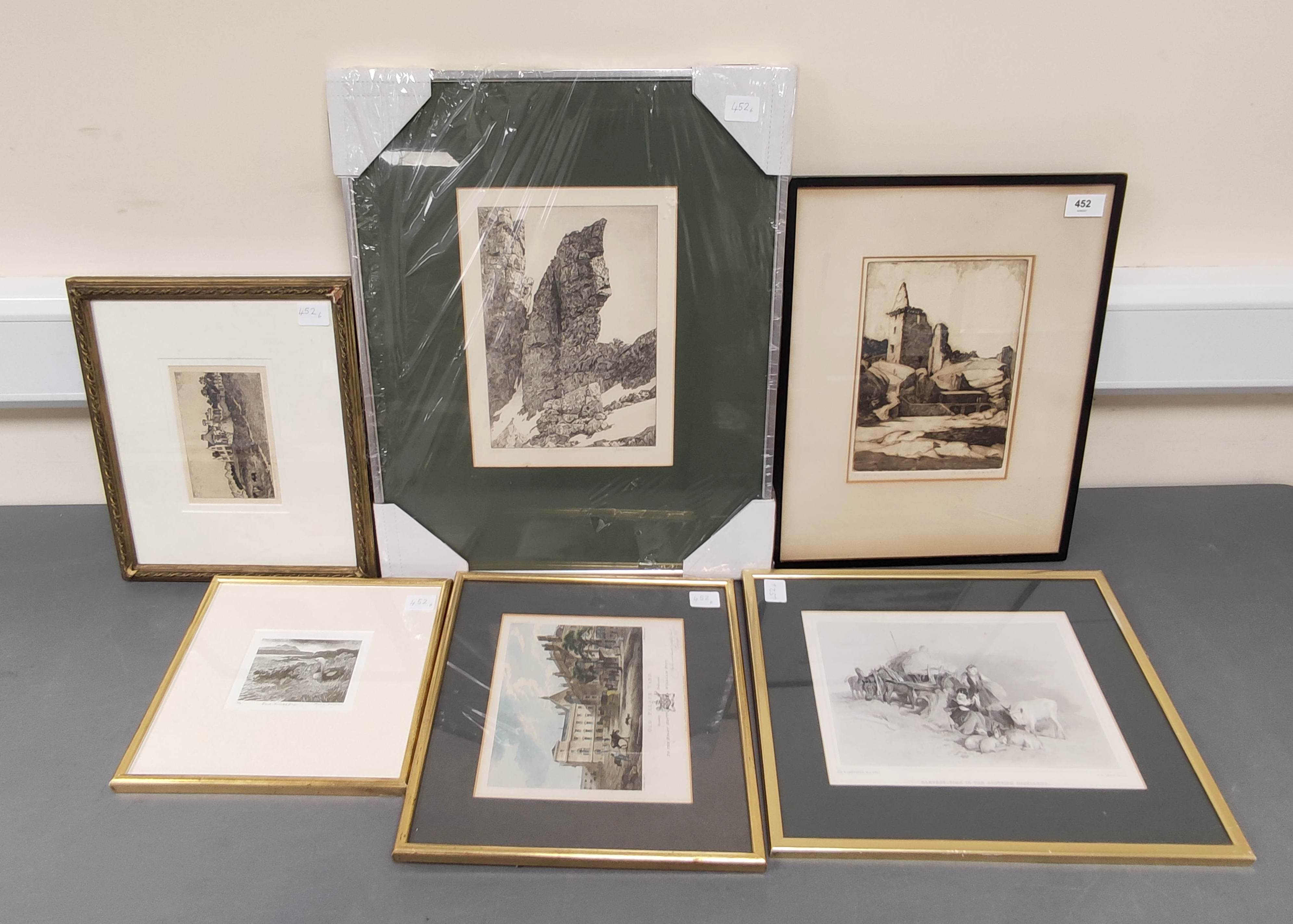 JEAN THOMAS.Bhasteir Tooth, pencil signed etching 2/60; also 5 other engravings & etchings. (6).