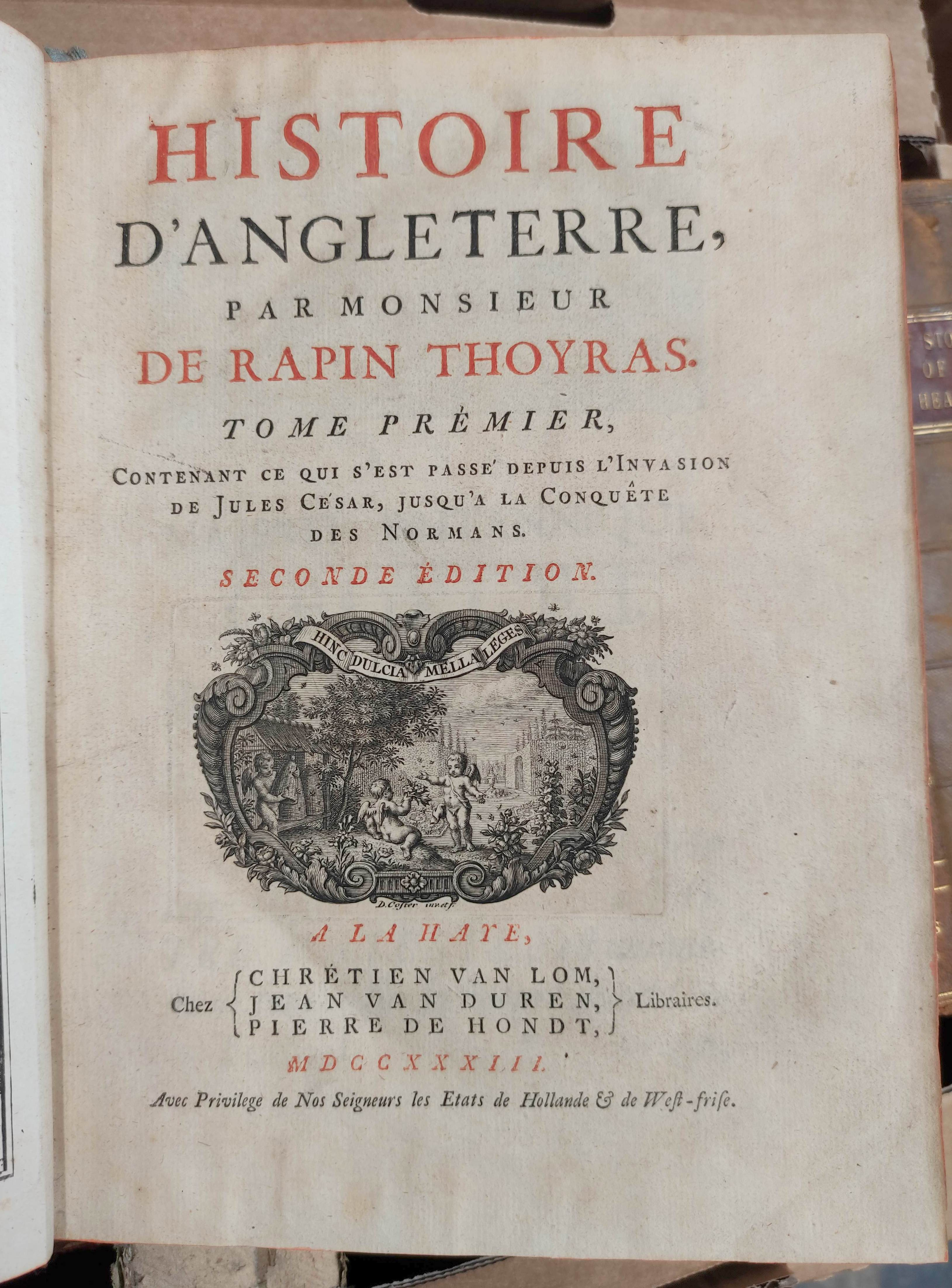DE RAPIN THOYRAS.Histoire D'Angleterre. 10 vols. Eng. plates, fldg. tables, etc. Quarto. Calf. The - Image 3 of 8
