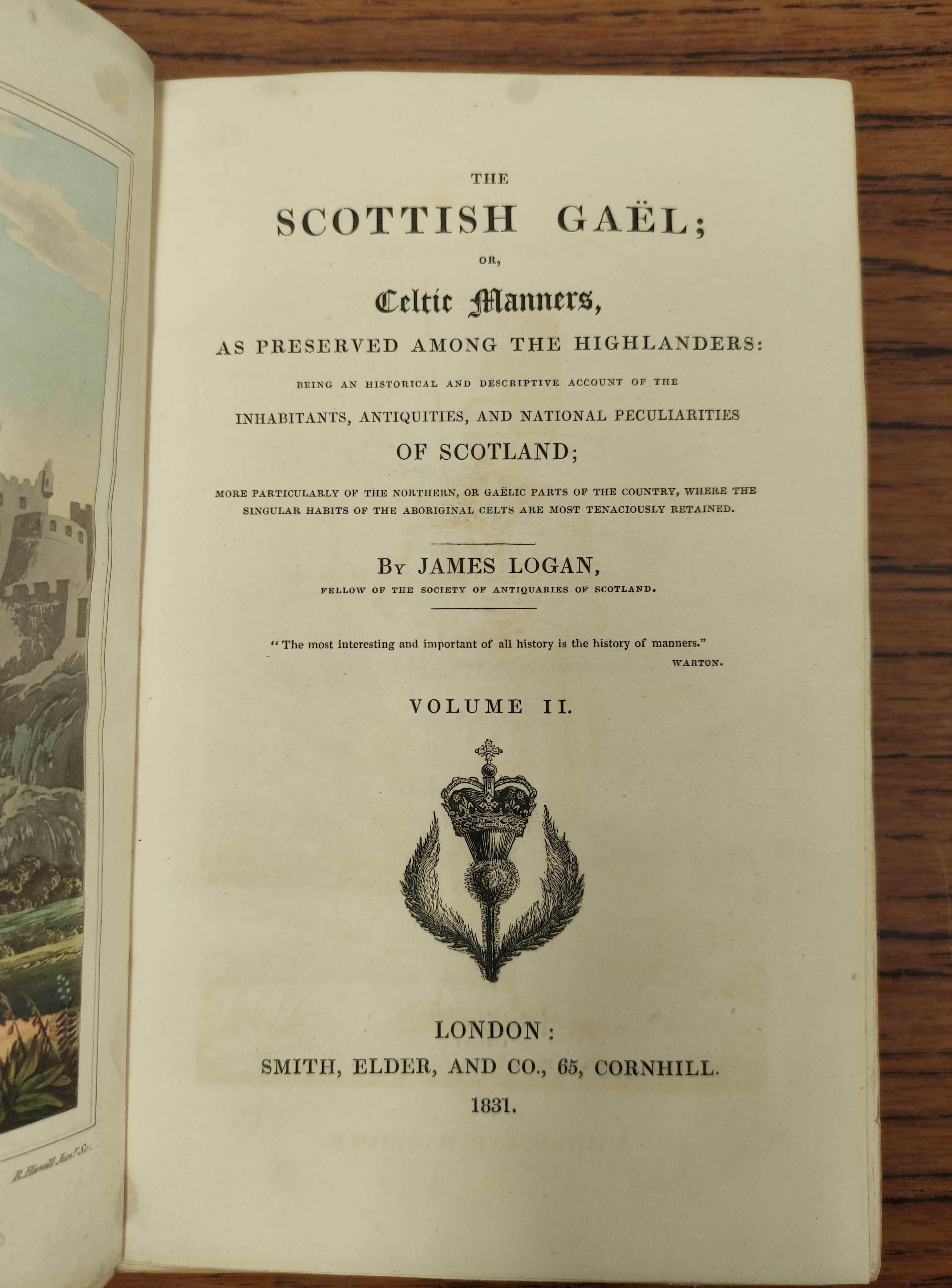 LOGAN JAMES.The Scottish Gael. 2 vols. Col. frontis & text illus. Half green morocco. A nice - Image 8 of 10