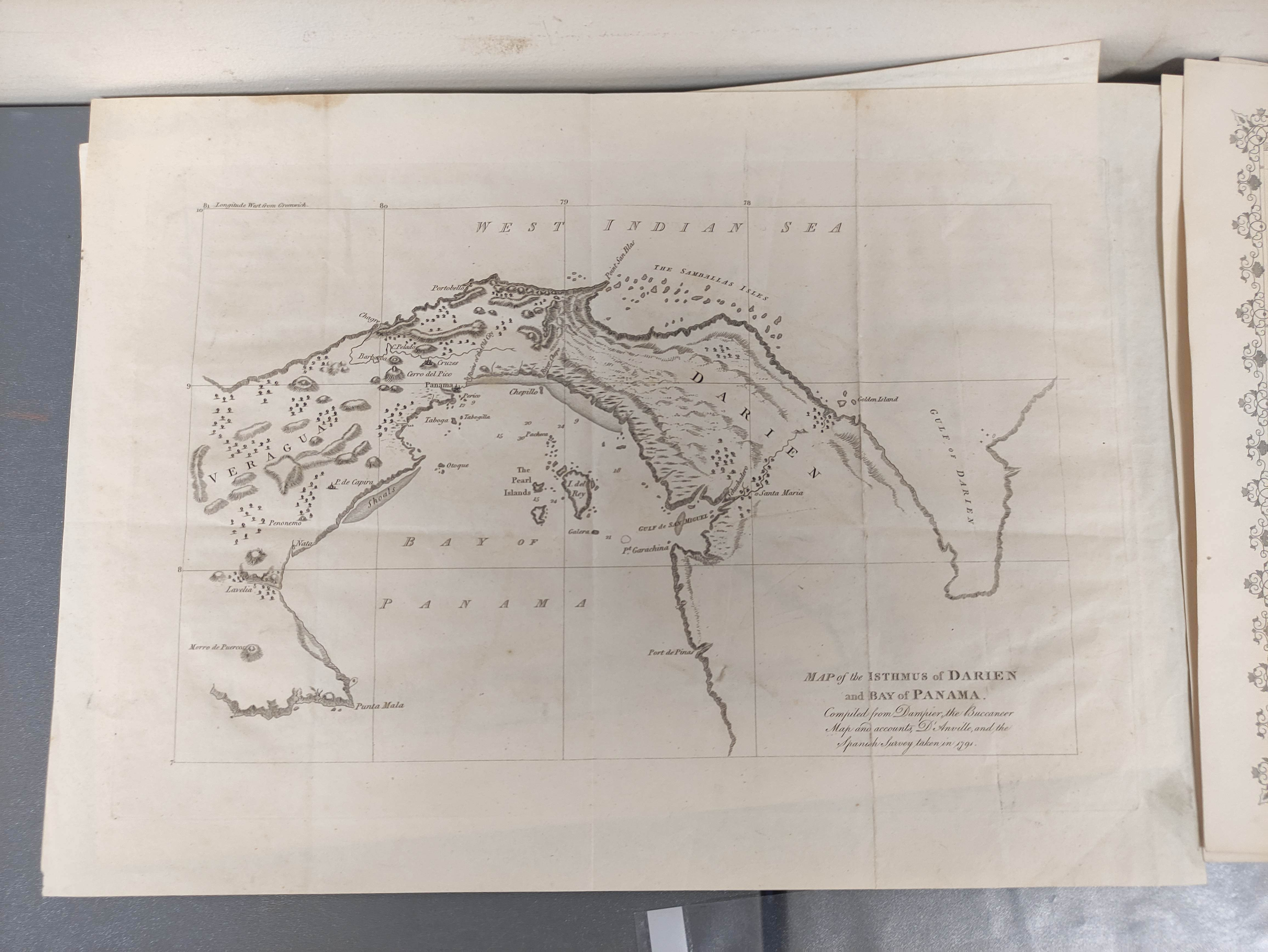 MOLL HERMAN.A Chart of the Coasts of Peru, Quito, Popayan and the Isthmus of Darien. Engraved map, - Image 4 of 6