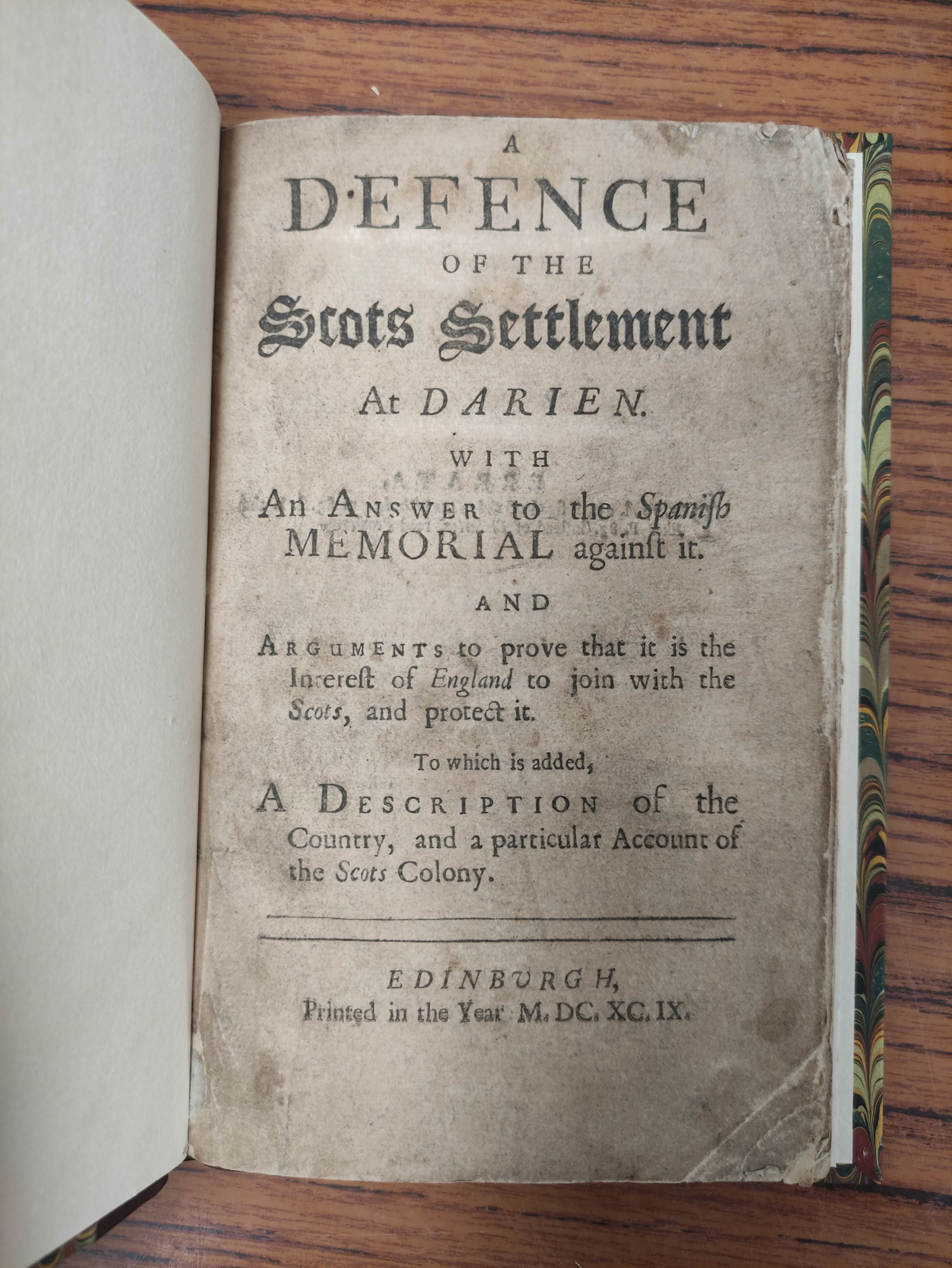 """""""PHILO-CALEDON"""" (poss. Lord Belhaven). A Defence of the Scots Settlement at Darien with an Answer - Image 3 of 9"""