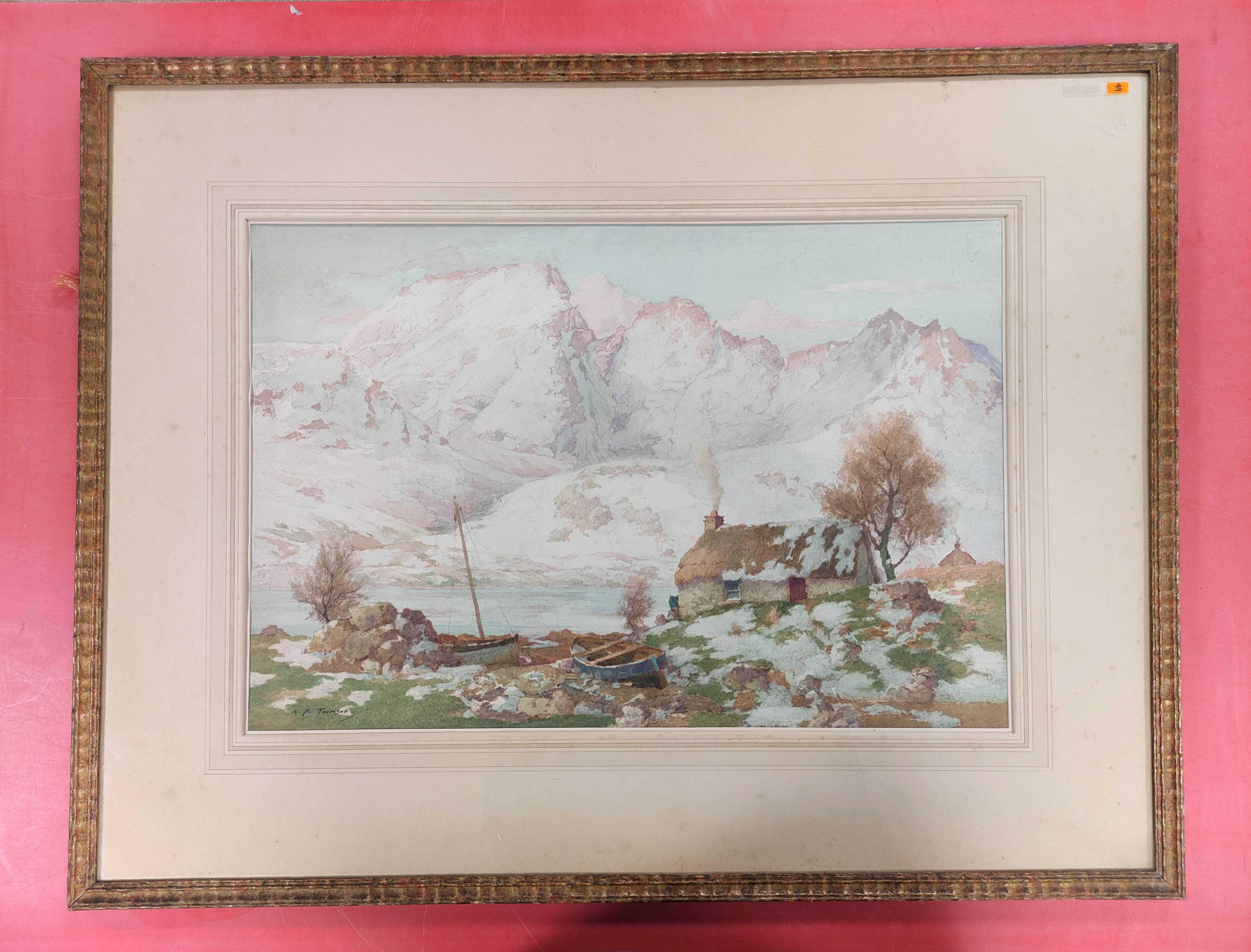"""A. P. THOMSON RSW. """"The snow over the hills of Skye"""". Signed, watercolour. 36cm x 54cm."""
