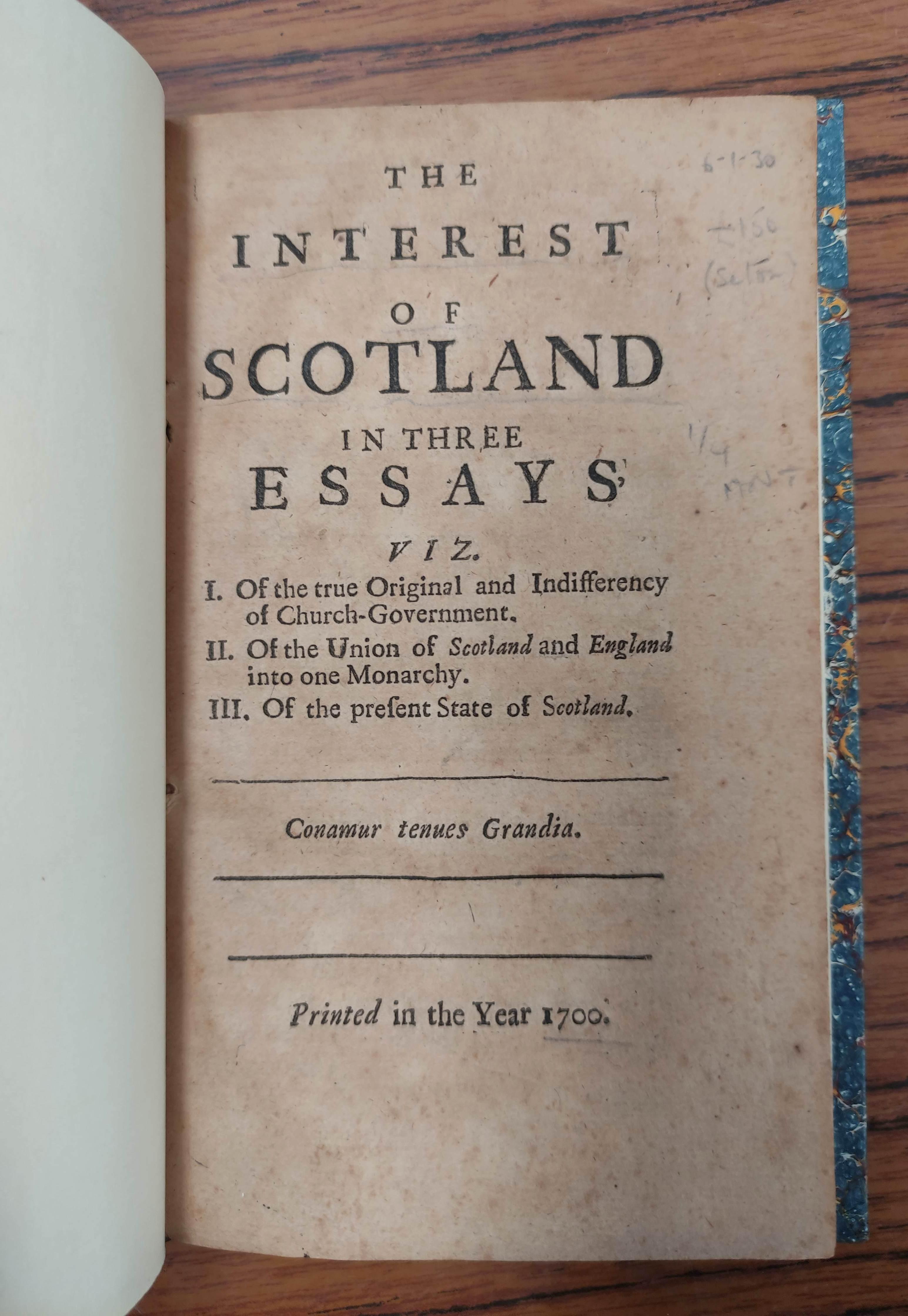 (SETON WILLIAM). The Interest of Scotland in Three Essays. 114pp. Rebound qtr. calf, marbled - Image 3 of 5