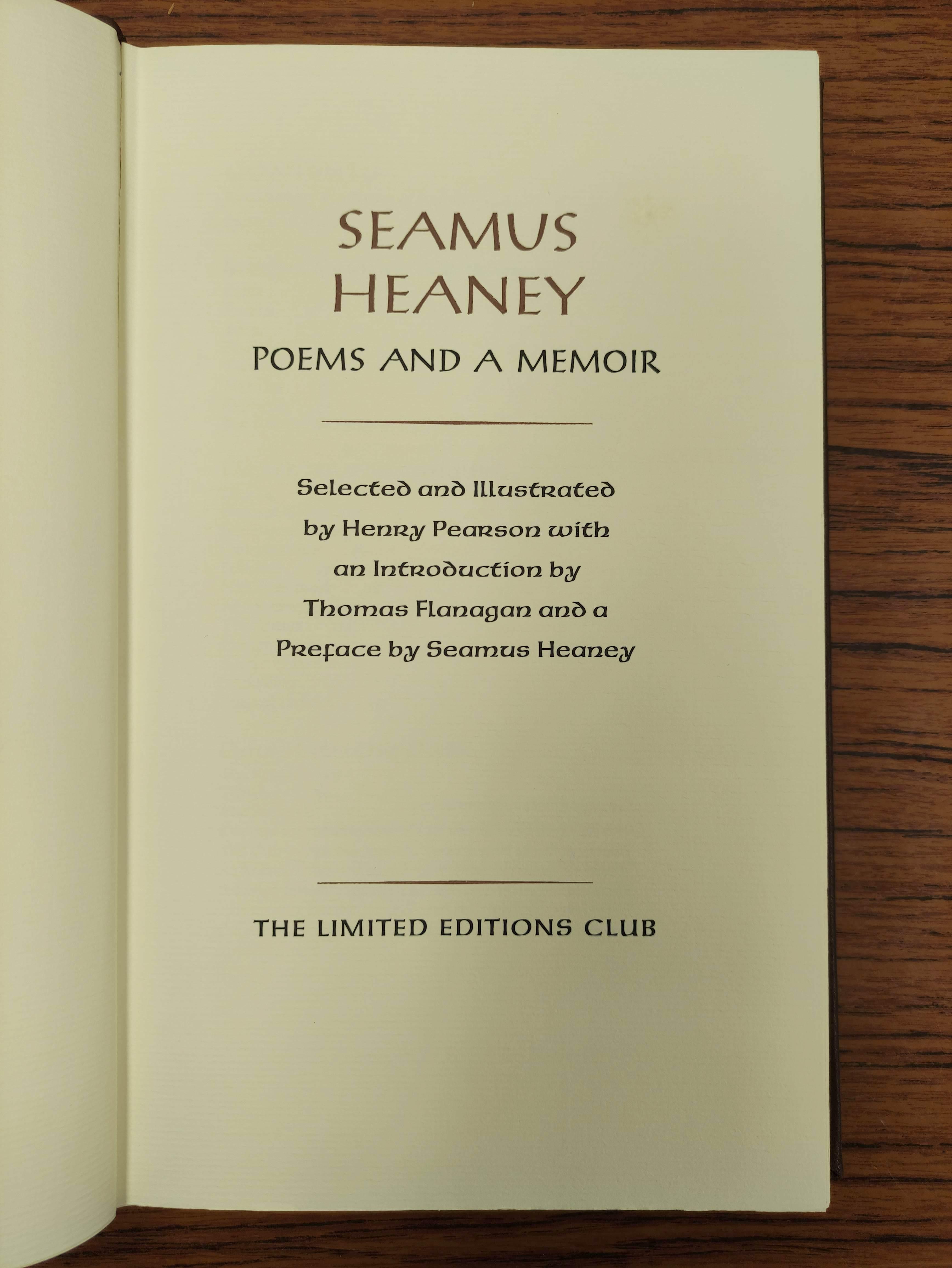 HEANEY SEAMUS.Poems & Memoir. Signed ltd. ed. 1197/2000. Plates. Folio. Calf in slip case. Limited - Image 4 of 8