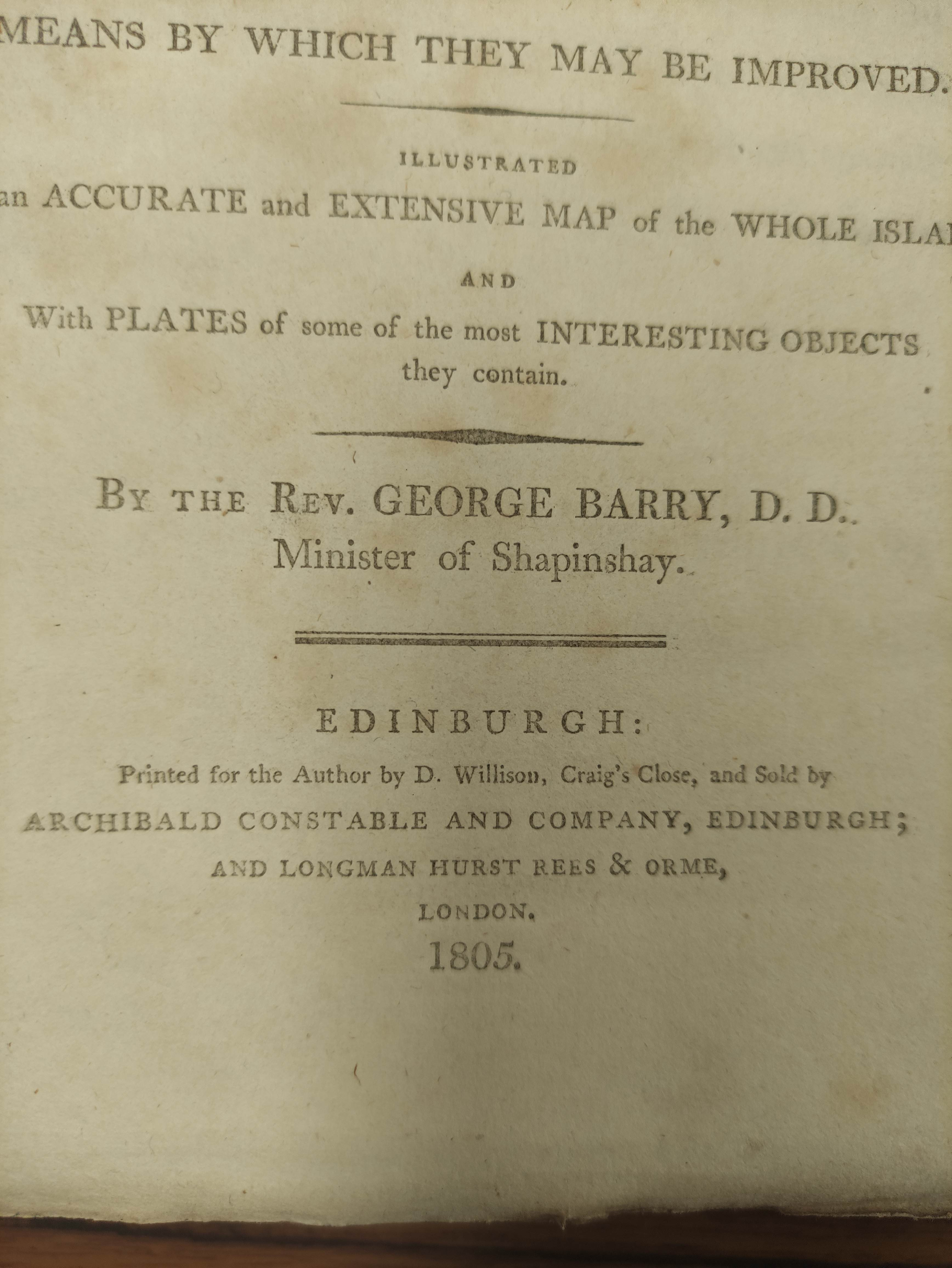 BARRY GEORGE. The History of the Orkney Islands. Fldg. eng. map & eng. plates. Quarto. Rebacked - Image 5 of 13