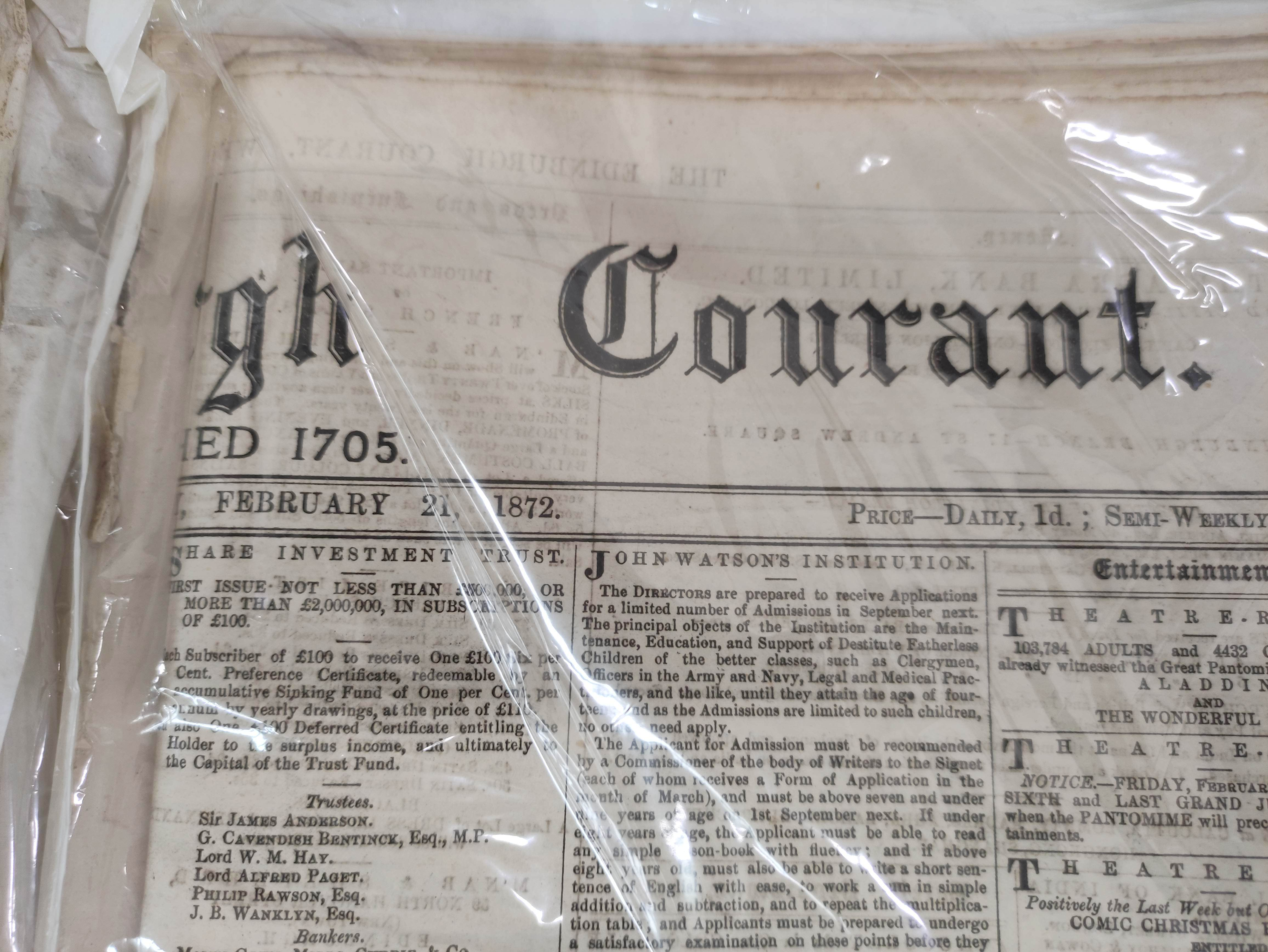 Edinburgh Courant.A bundle of issues of this newspaper, c.1872; also other periodicals incl. - Image 6 of 7