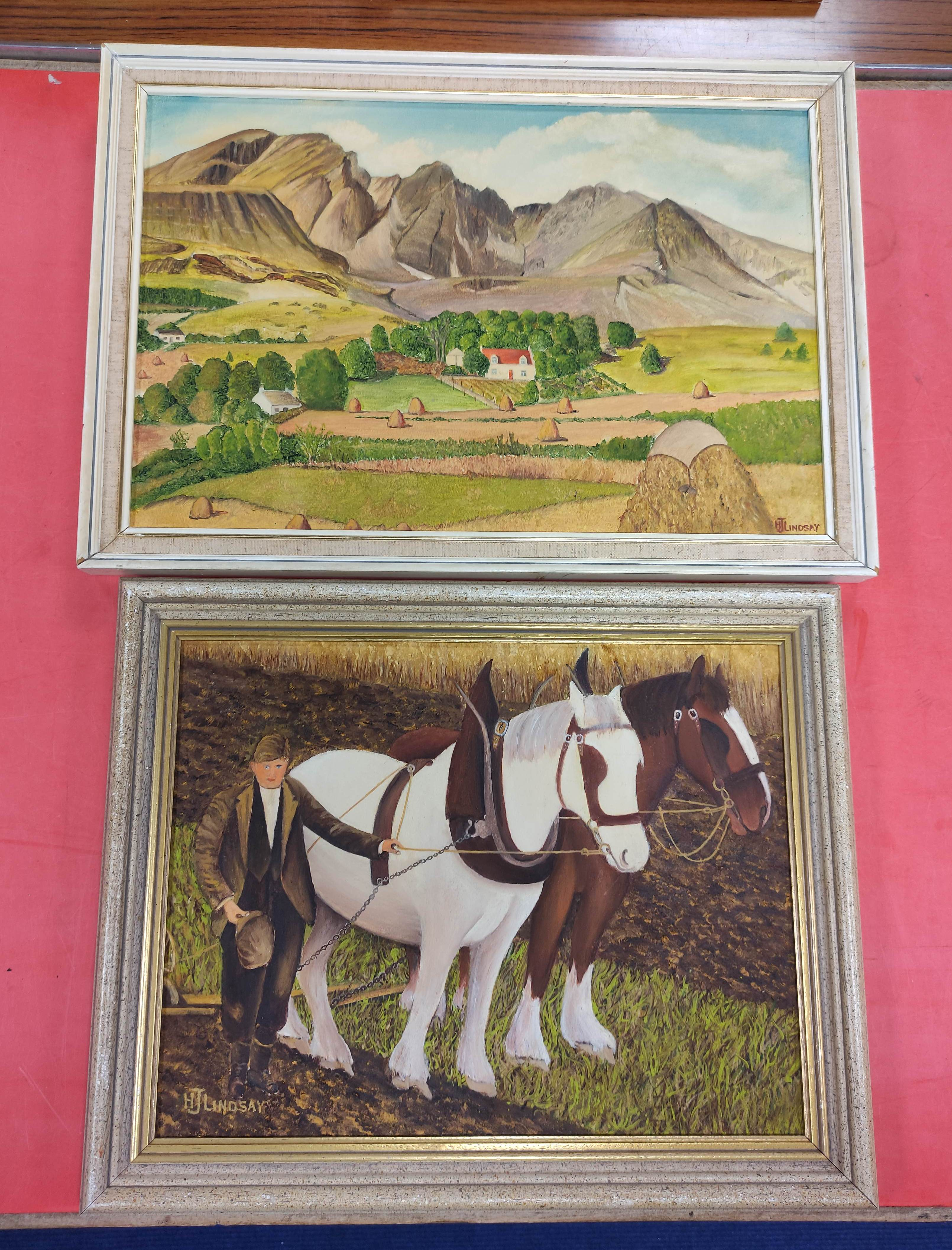 H. J. LINDSAY. 2 naive oils on board of farming life in Skye & various other pictures & prints - Image 2 of 2