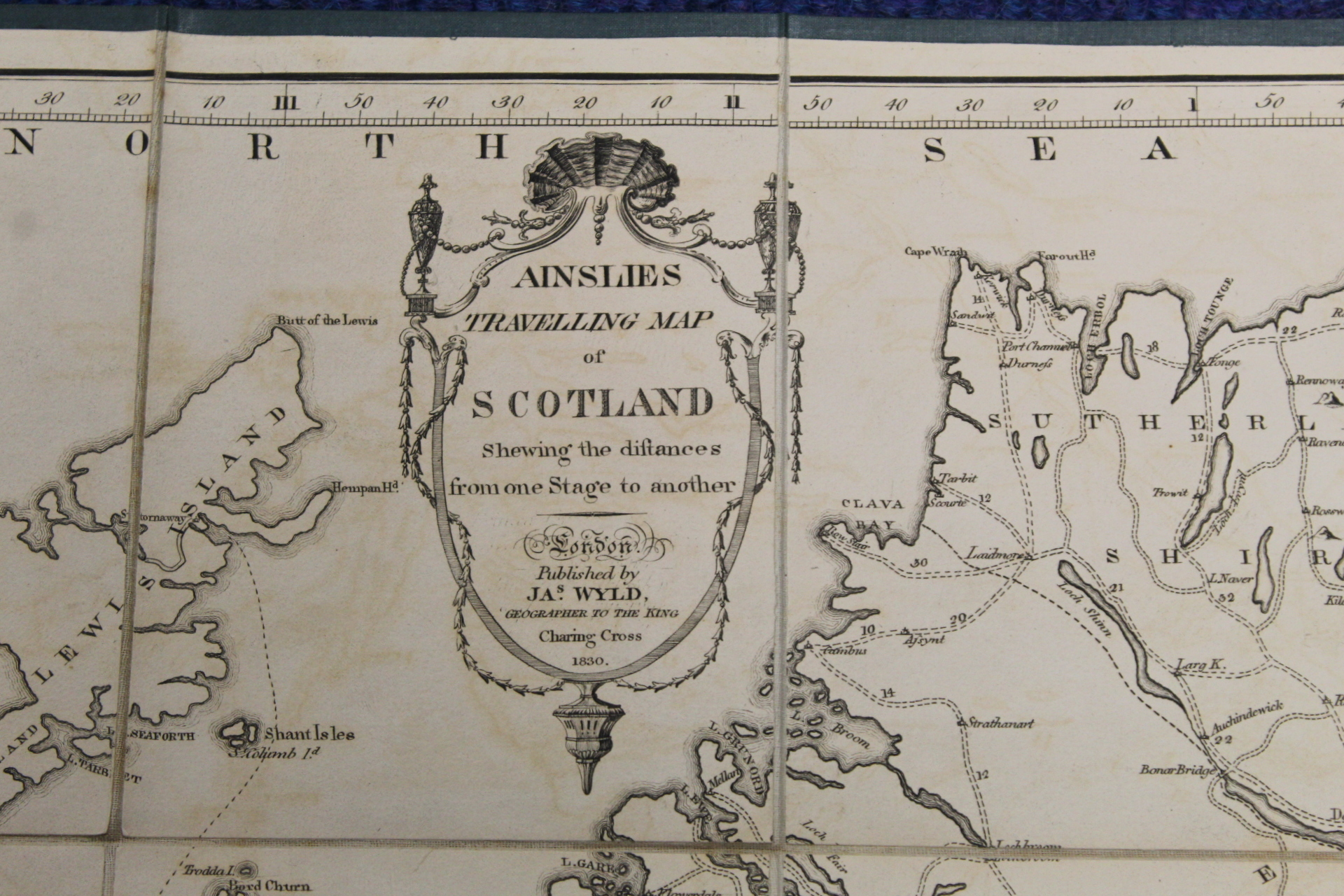 KIRKWOOD J. & SONS.Map of Scotland. Hand col. eng. fldg. linen map in well worn orig. slip case. - Image 28 of 36