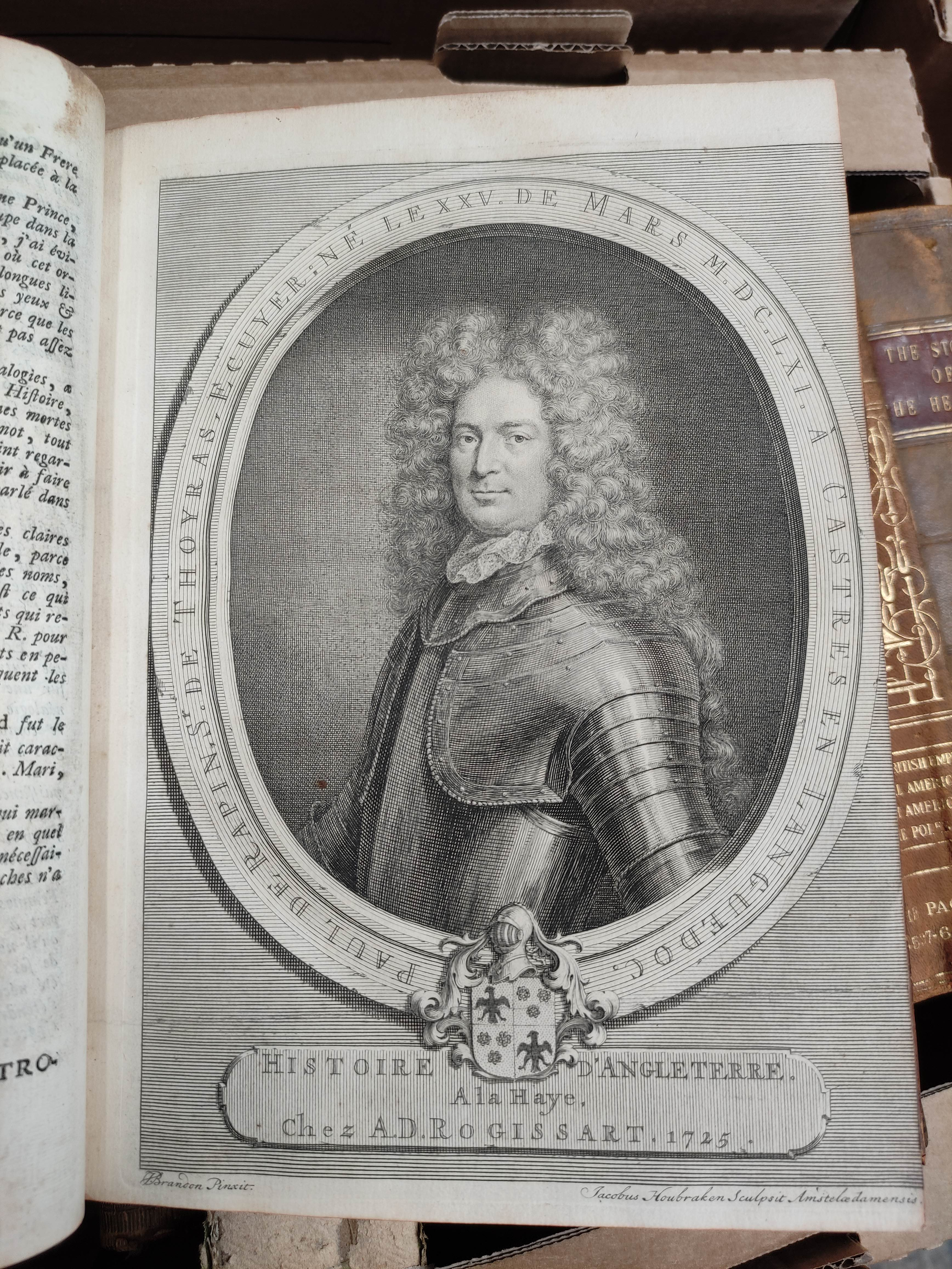 DE RAPIN THOYRAS.Histoire D'Angleterre. 10 vols. Eng. plates, fldg. tables, etc. Quarto. Calf. The - Image 6 of 8