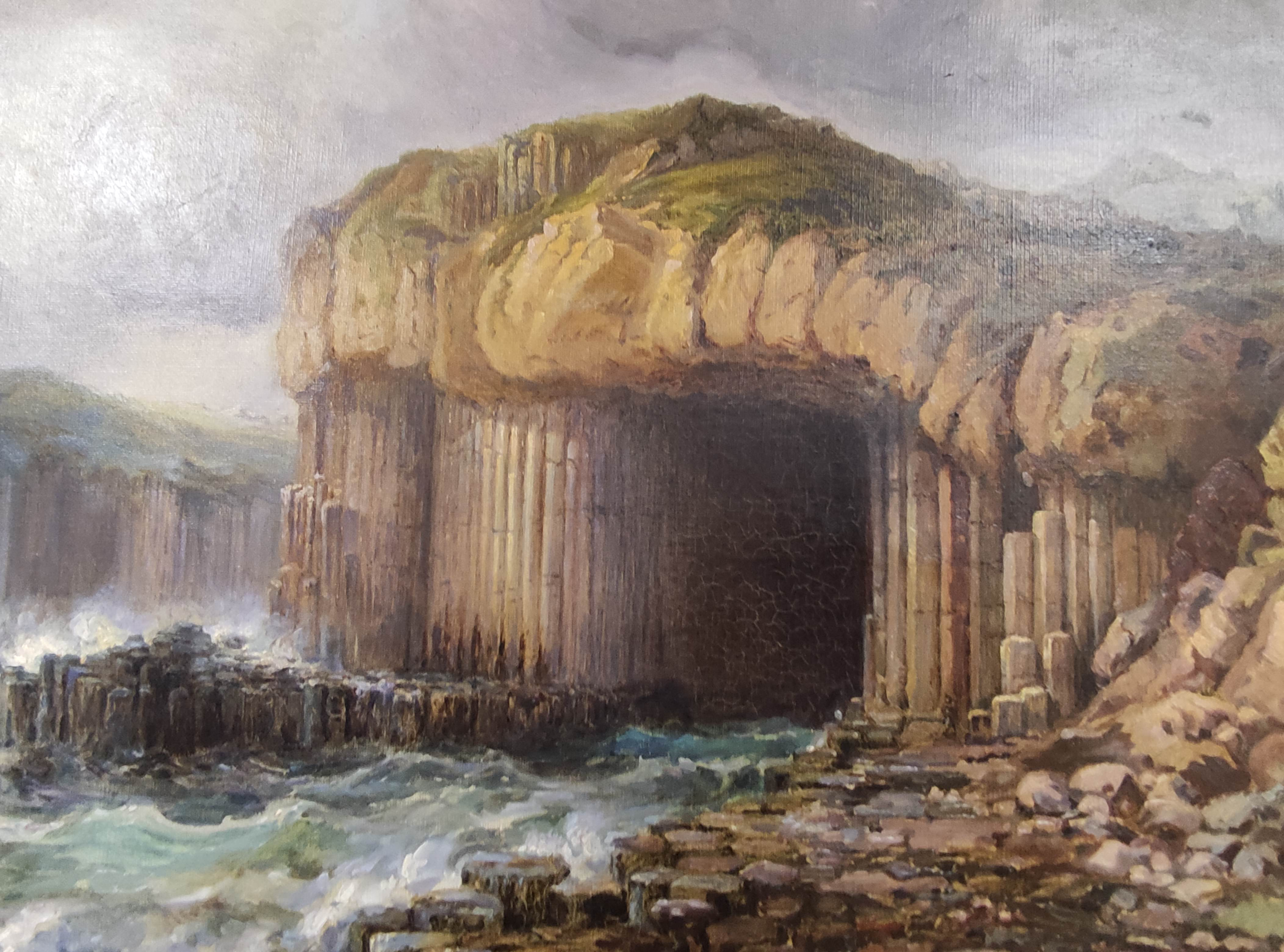 SCOTTISH SCHOOL C.1800. Fingals Cave, Staffa. Oil on canvas. 58cm x 88cm. - Image 3 of 4