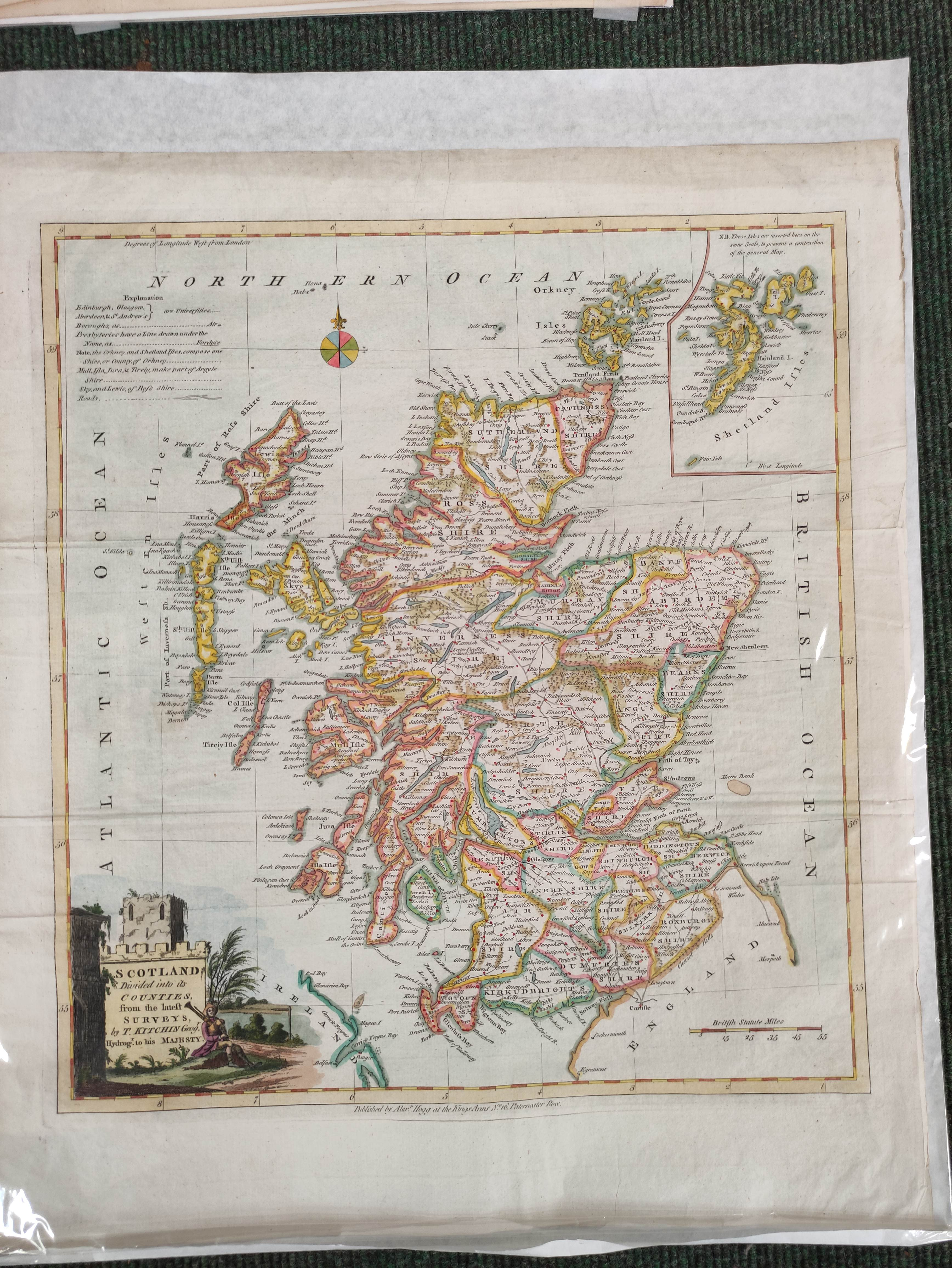 Engraved Maps.2 hand coloured eng. double maps of Ireland & Scotland by S. Augustus Mitchell, - Image 5 of 7