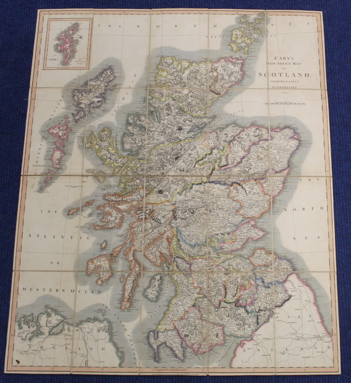 KIRKWOOD J. & SONS.Map of Scotland. Hand col. eng. fldg. linen map in well worn orig. slip case. - Image 33 of 36