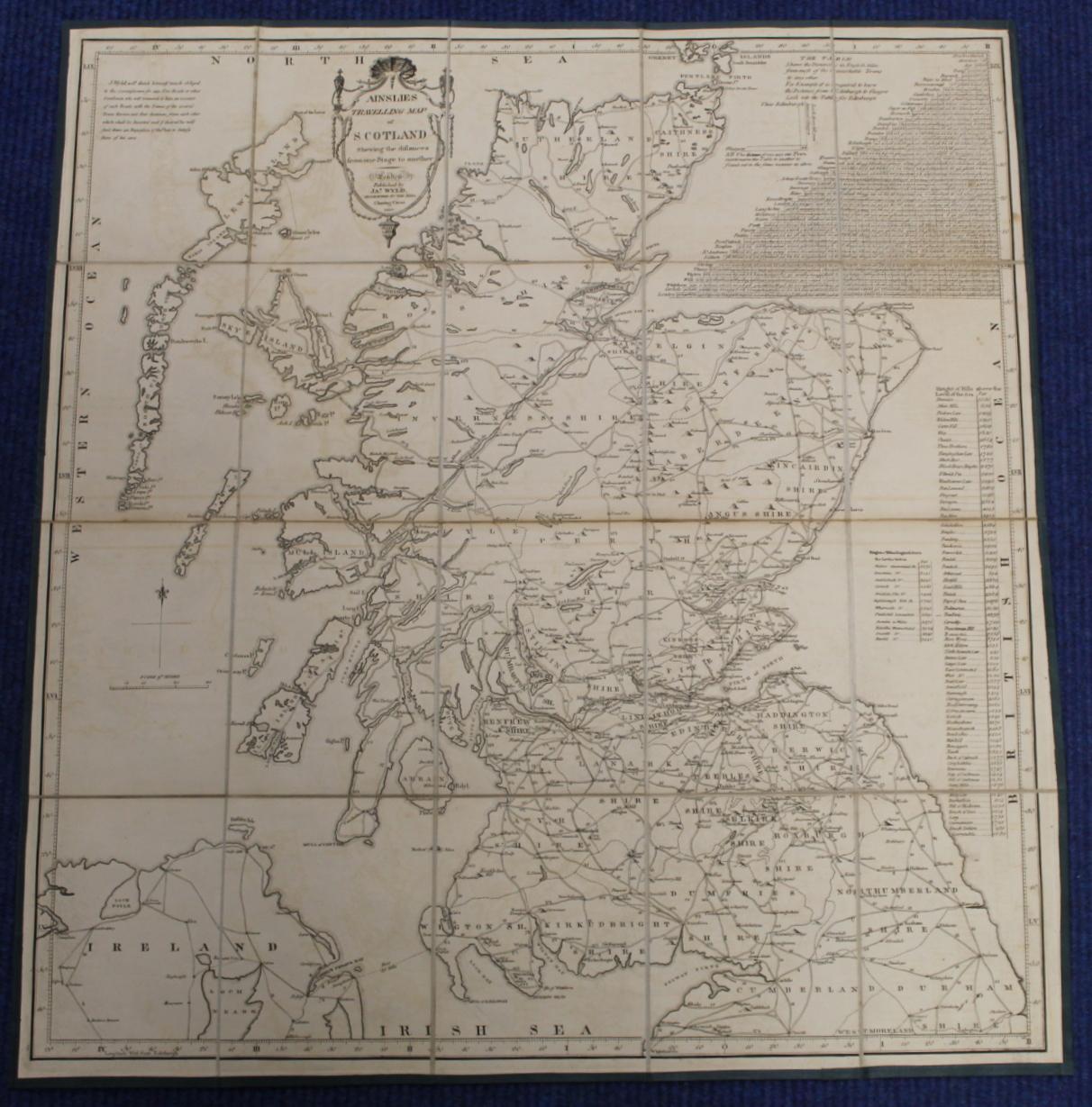 KIRKWOOD J. & SONS.Map of Scotland. Hand col. eng. fldg. linen map in well worn orig. slip case. - Image 27 of 36