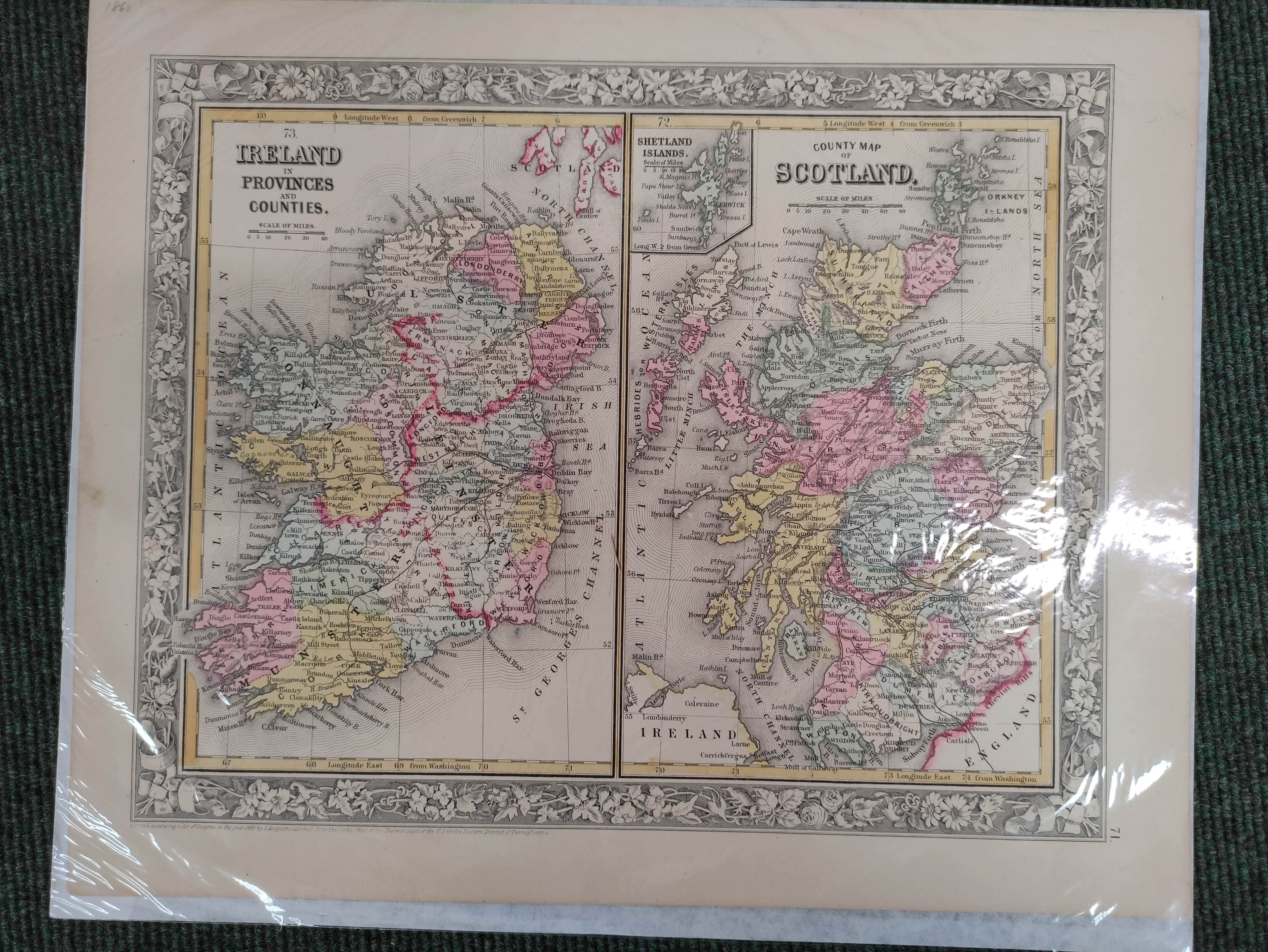 Engraved Maps.2 hand coloured eng. double maps of Ireland & Scotland by S. Augustus Mitchell, - Image 7 of 7