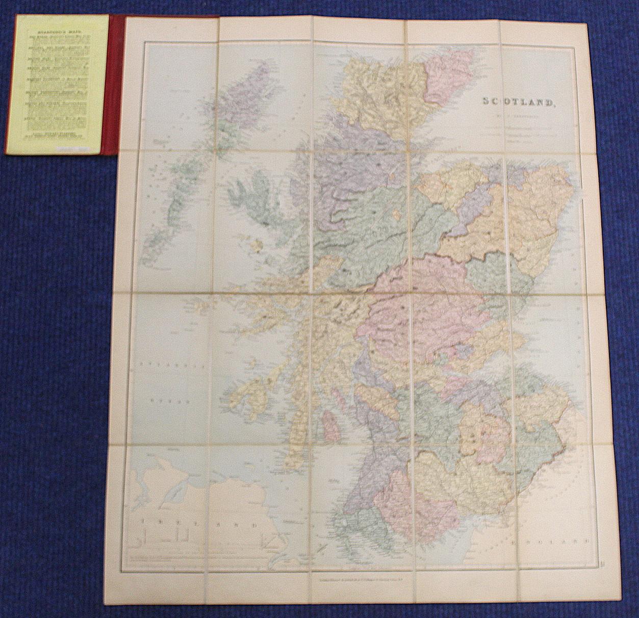 KIRKWOOD J. & SONS.Map of Scotland. Hand col. eng. fldg. linen map in well worn orig. slip case. - Image 23 of 36