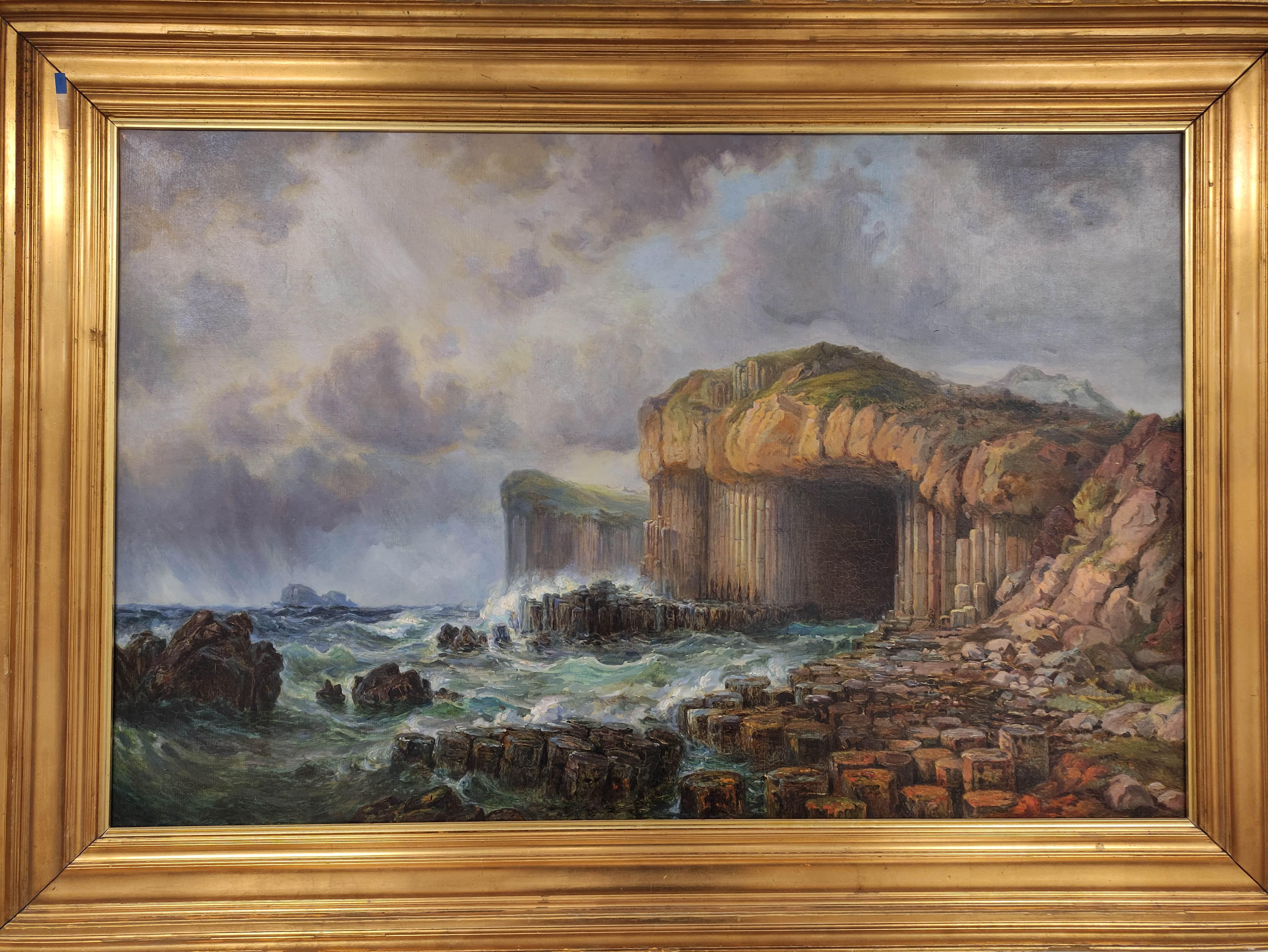 SCOTTISH SCHOOL C.1800. Fingals Cave, Staffa. Oil on canvas. 58cm x 88cm. - Image 2 of 4