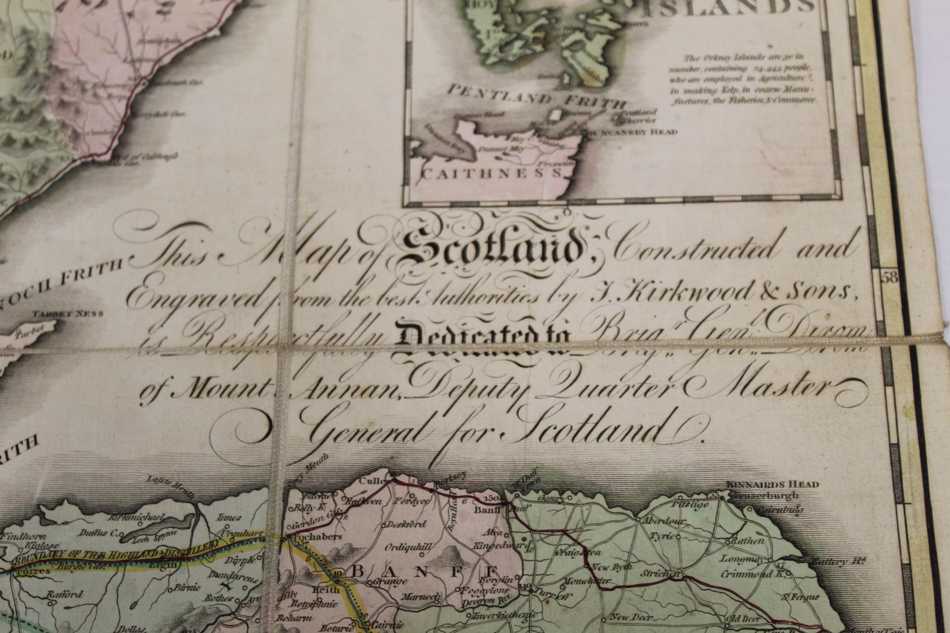 KIRKWOOD J. & SONS.Map of Scotland. Hand col. eng. fldg. linen map in well worn orig. slip case. - Image 16 of 36