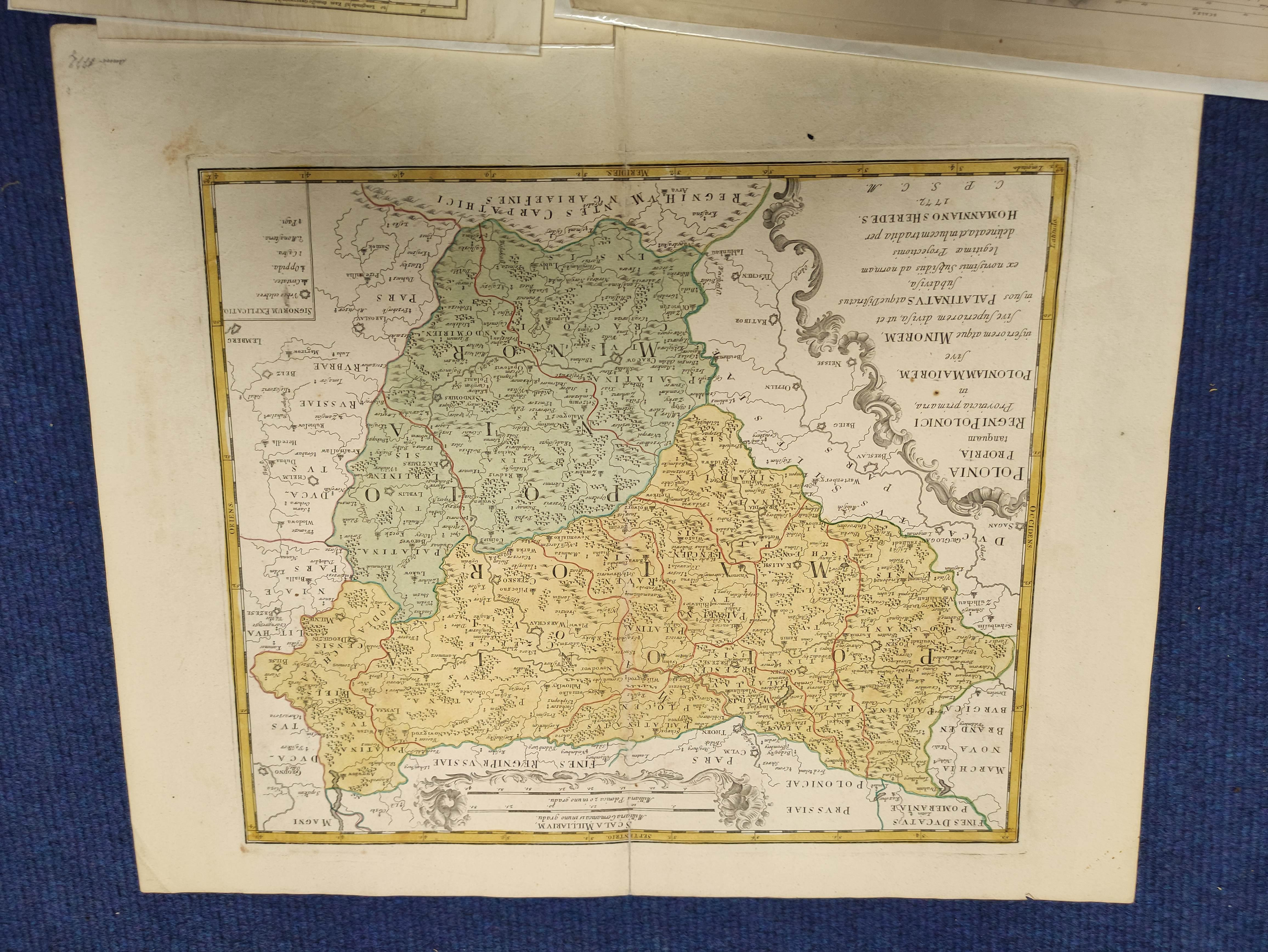 HOMANNIANO HEREDES (Pubs.)Polonia. Hand col. dbl. pge. eng. folio map. 1772; also 5 other eng. maps - Image 2 of 9