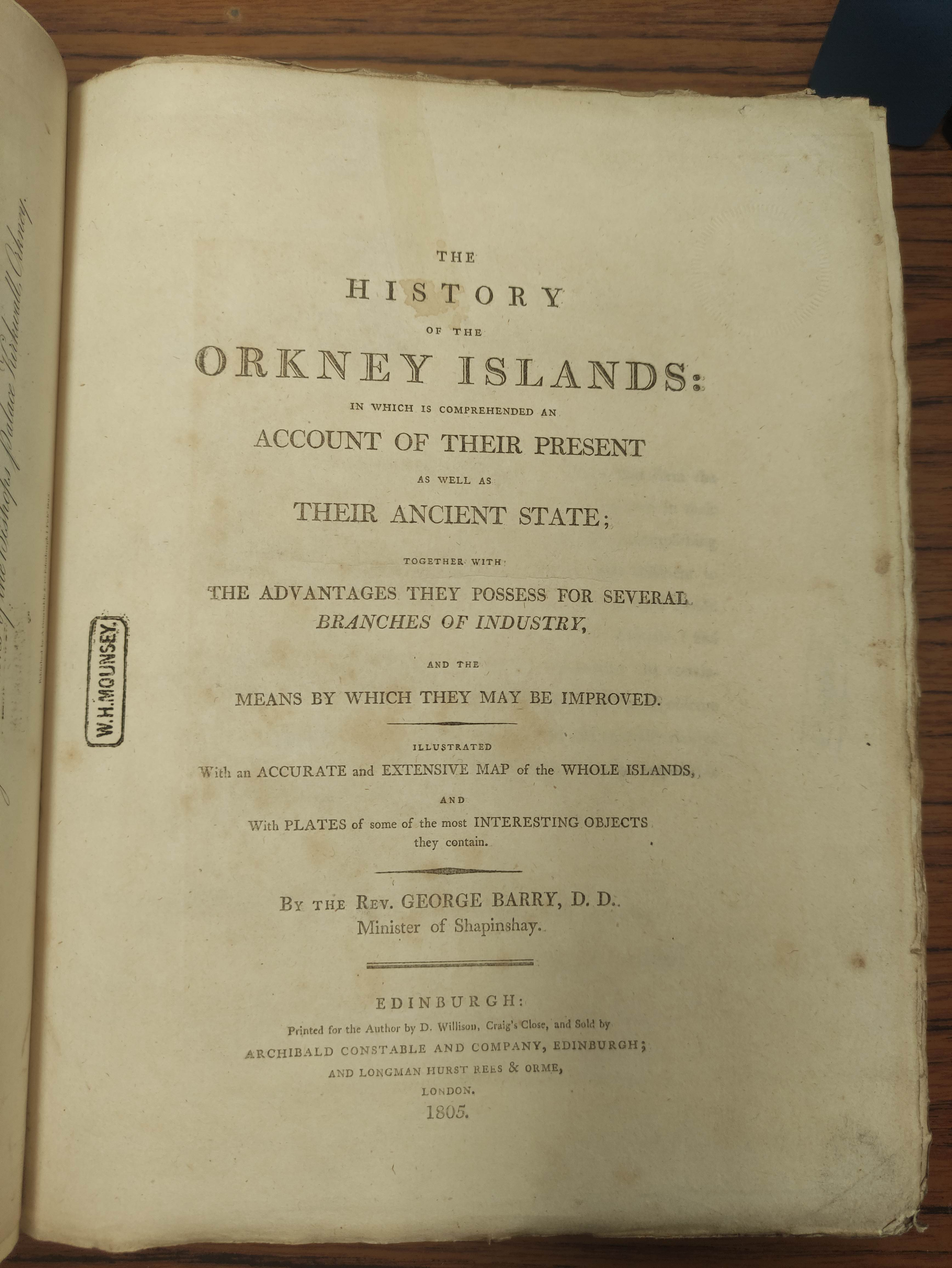 BARRY GEORGE. The History of the Orkney Islands. Fldg. eng. map & eng. plates. Quarto. Rebacked - Image 4 of 13