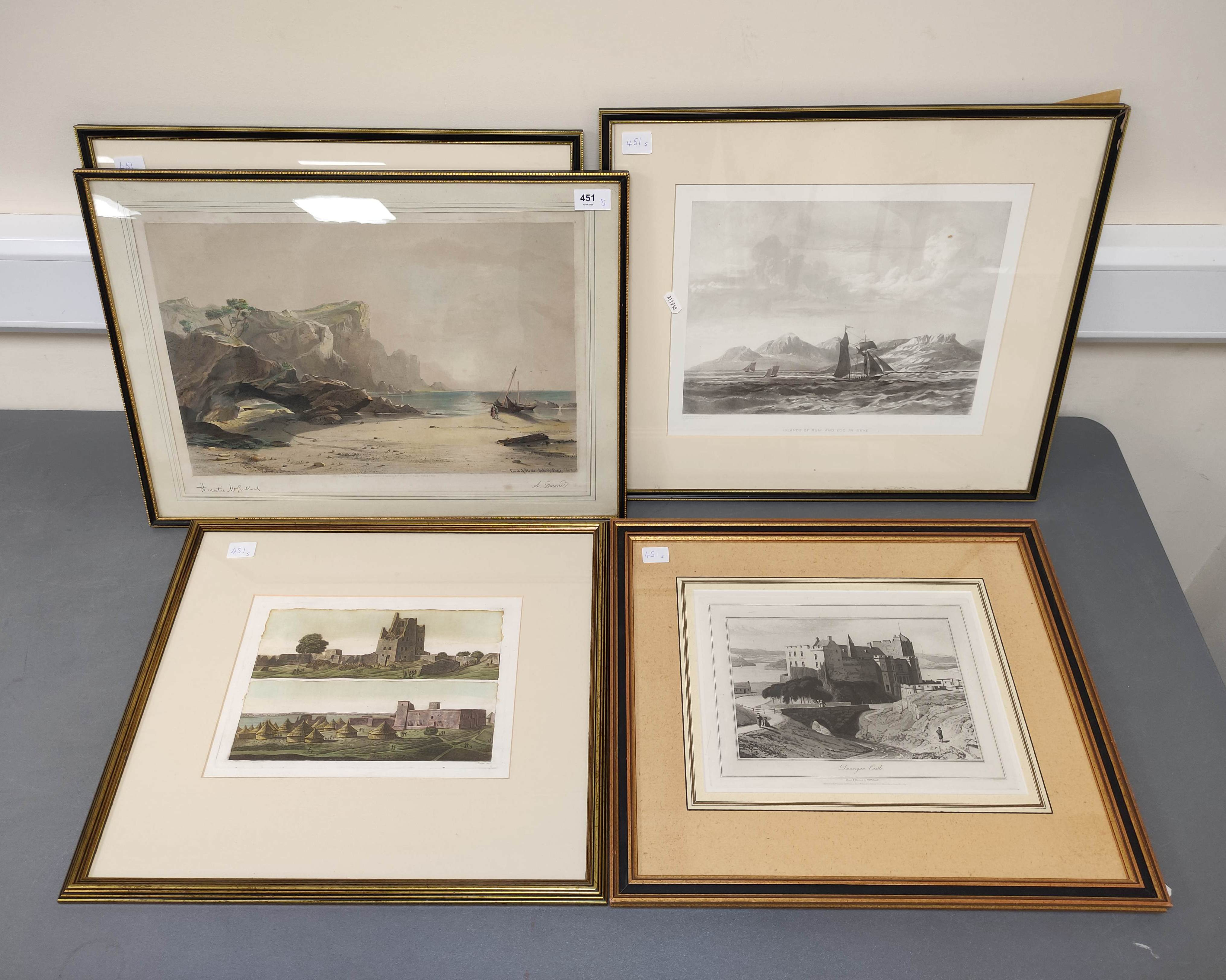 HORATIO McCULLOCH.Coast of Sleate, Isle of Skye, hand coloured lithograph; also 4 other