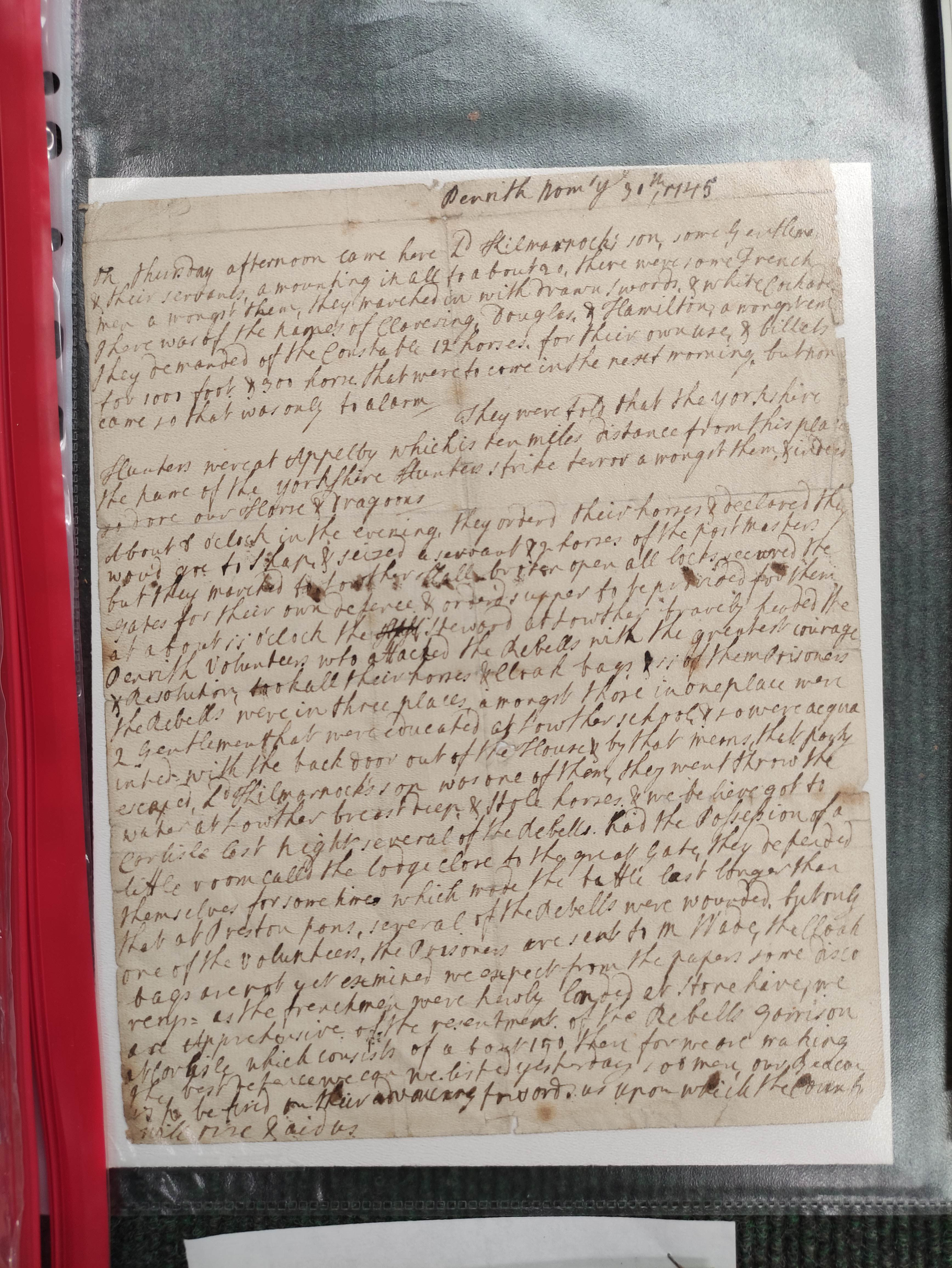Jacobite interest, Penrith.Single sided manuscript leaf (tear at folds), giving an account of - Image 3 of 6
