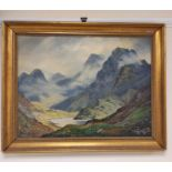 G. MELVIN RENNIE. The heart of the Cuillins. Signed, oil on canvas. 45cm x 60cm.
