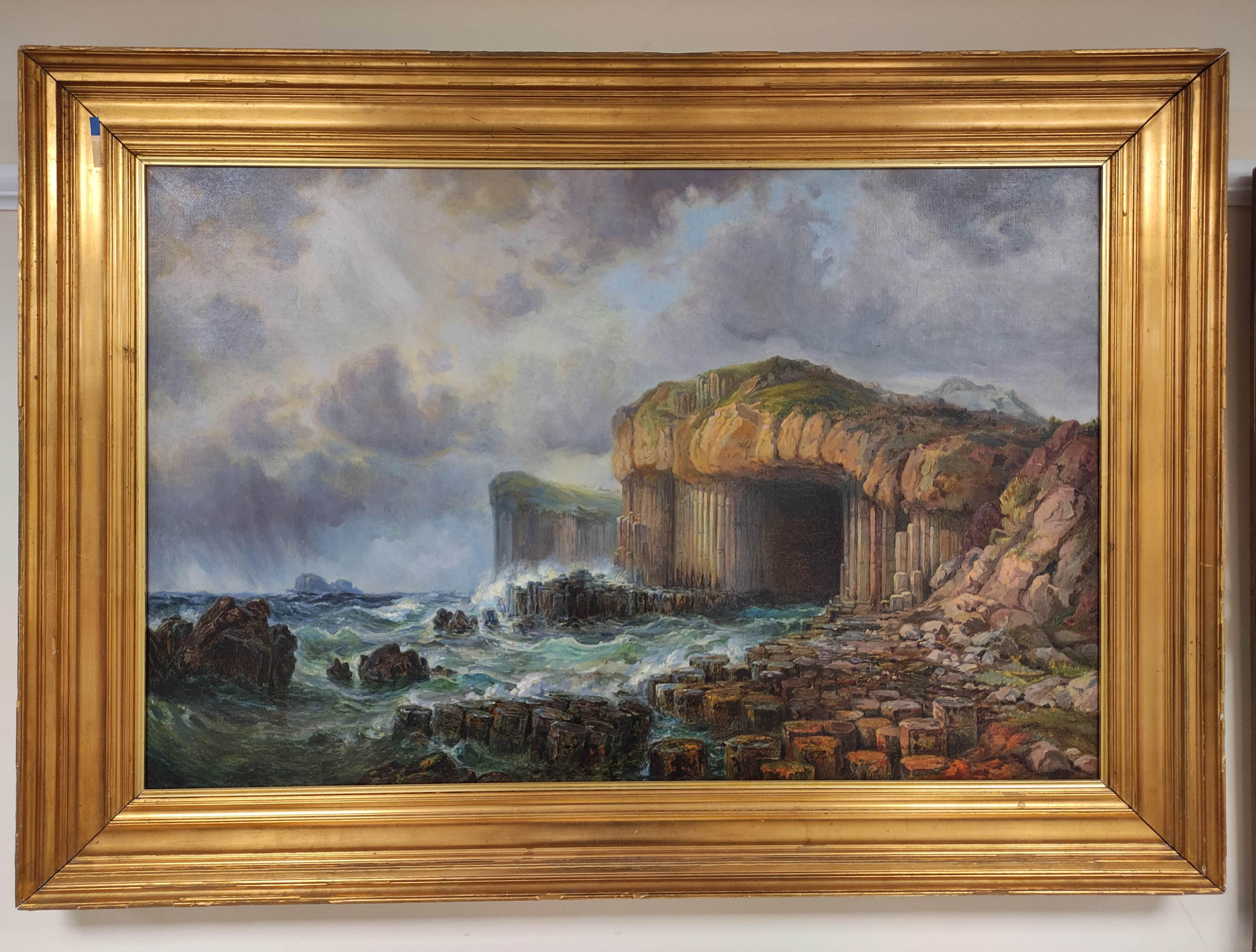 SCOTTISH SCHOOL C.1800. Fingals Cave, Staffa. Oil on canvas. 58cm x 88cm.