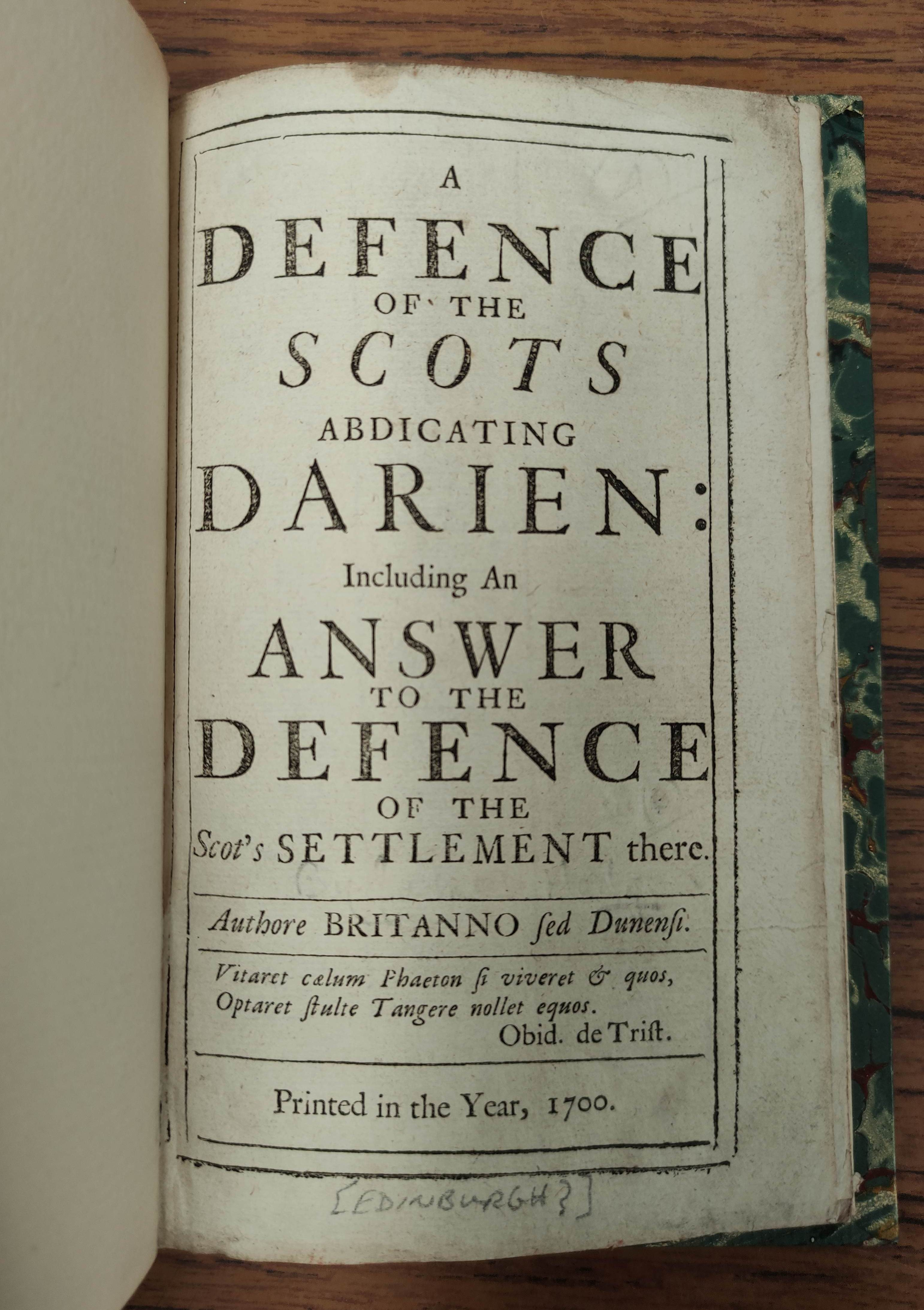 """""""PHILO-CALEDON"""" (poss. Lord Belhaven). A Defence of the Scots Settlement at Darien with an Answer - Image 7 of 9"""
