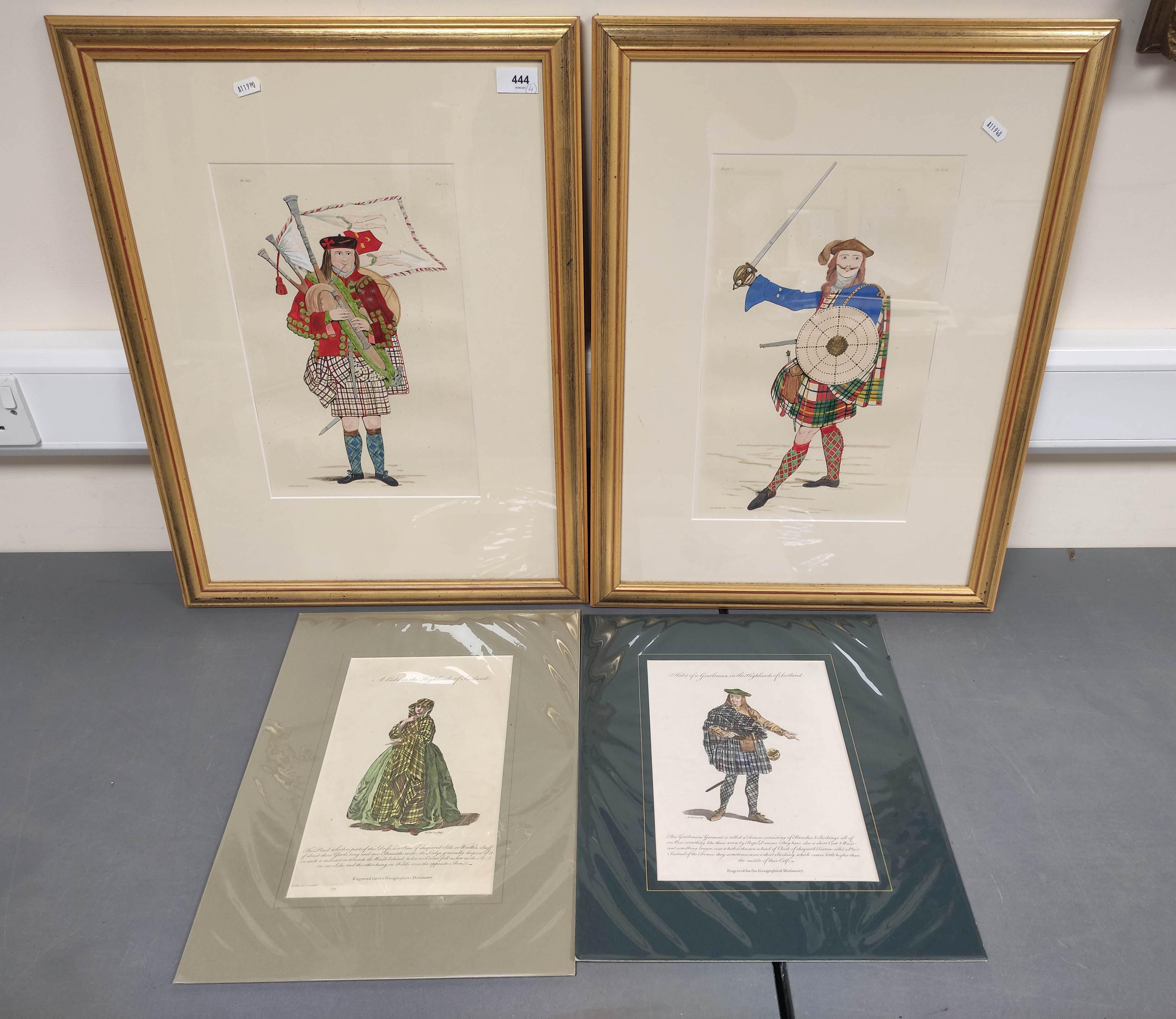 Highland Costume.4 hand coloured engraved plates, 2 framed.
