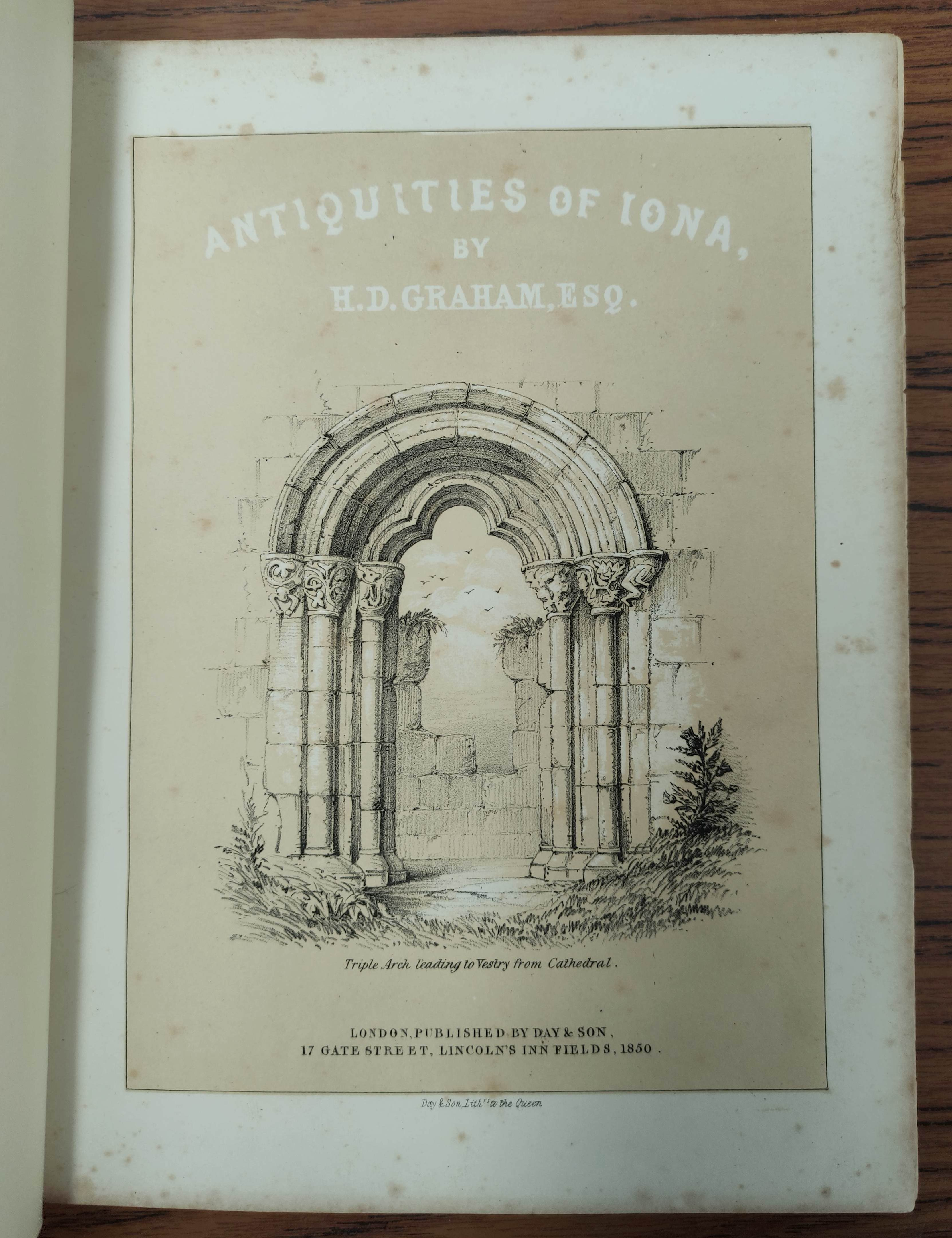 GRAHAM H. D.Antiquities of Iona. Litho frontis, map & plates. Quarto. Rebound qtr. green calf, - Image 7 of 13