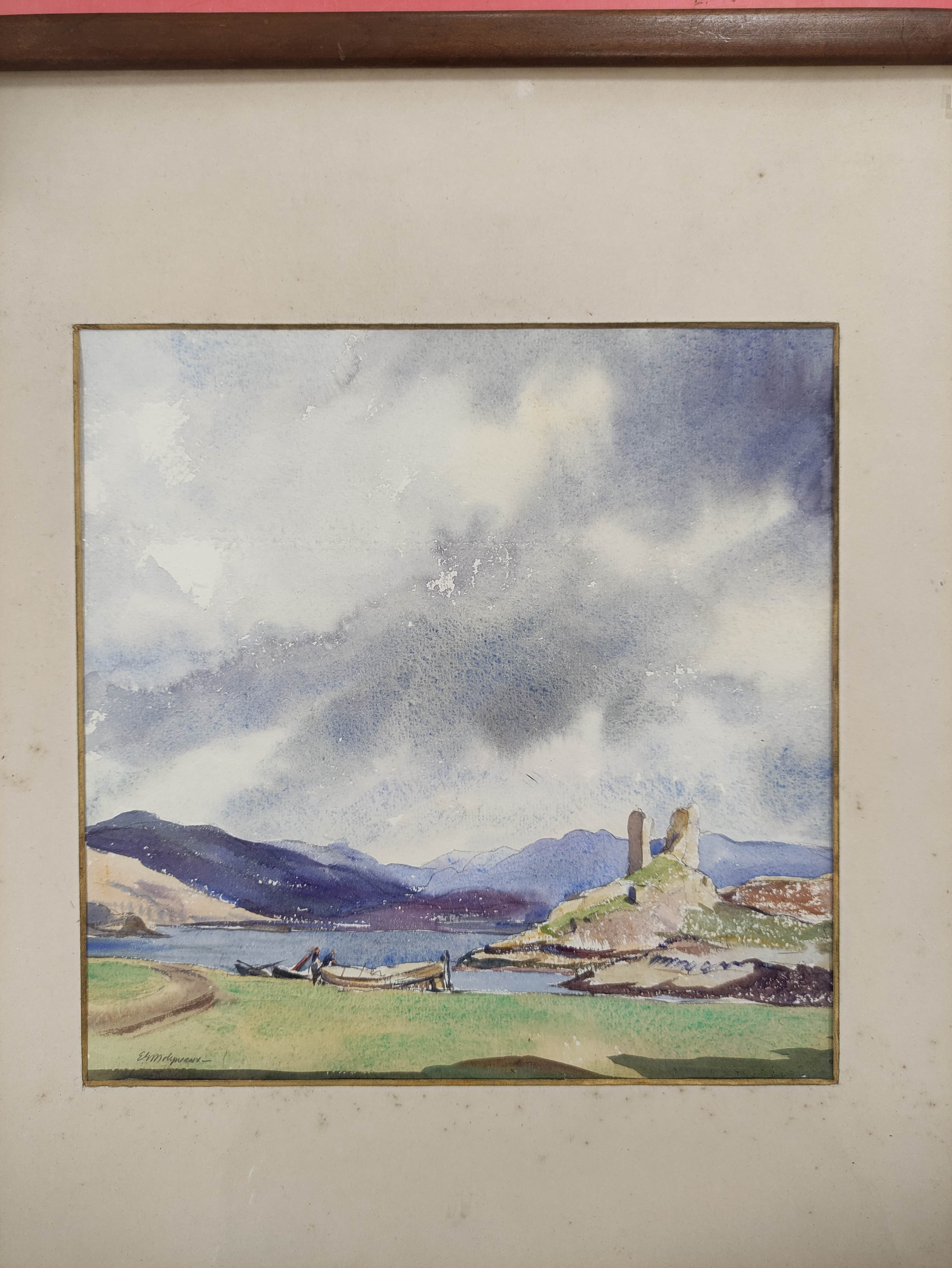 ELIZABETH G. MOLYNEUX RSW. Kyleakin. Signed & inscribed verso, watercolour. 26cm x 27cm. - Image 2 of 5