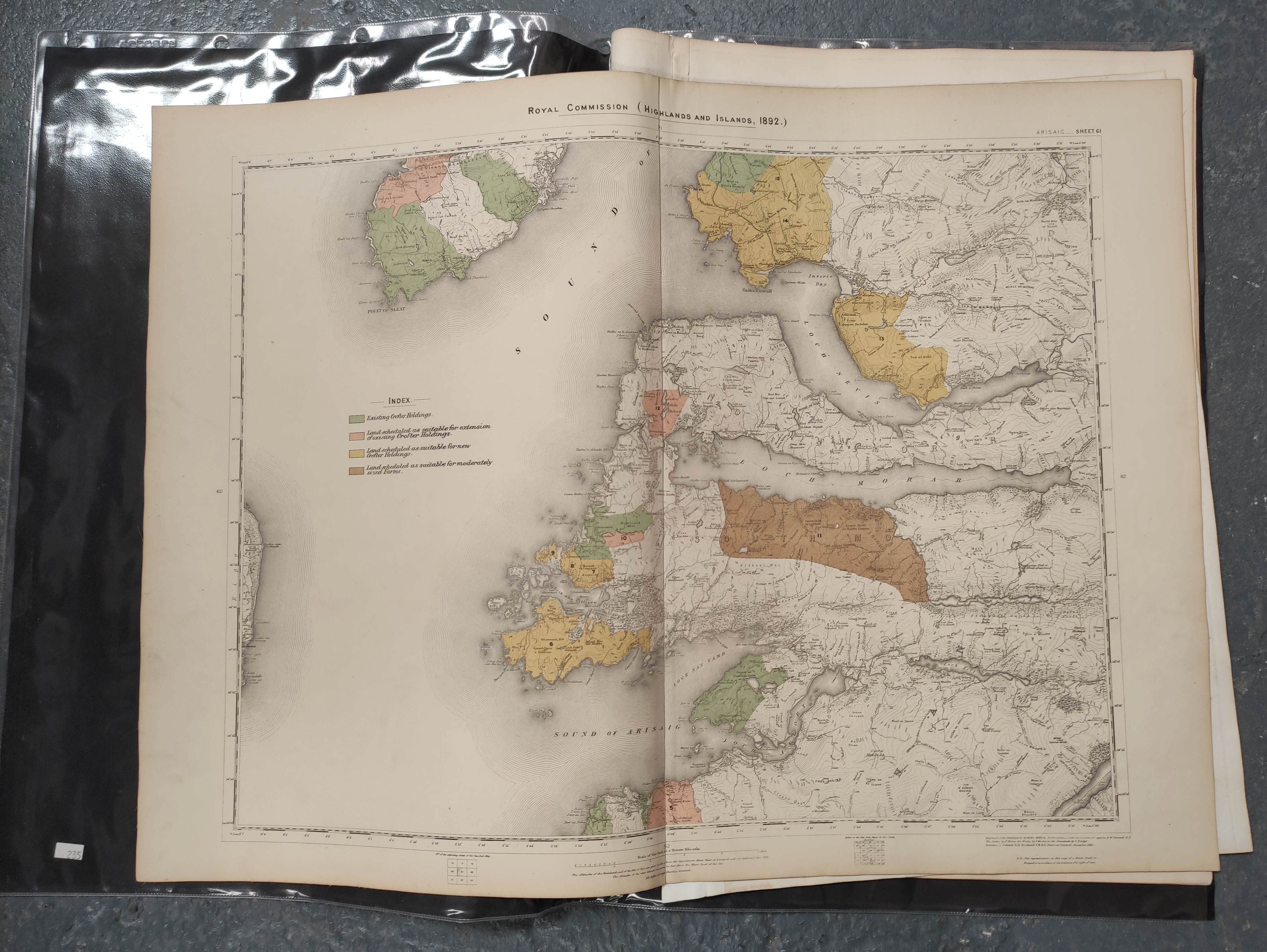 JOHNSON W. & A. K.Map of the County of Inverness with the railways. 4 part eng. map, hand col.