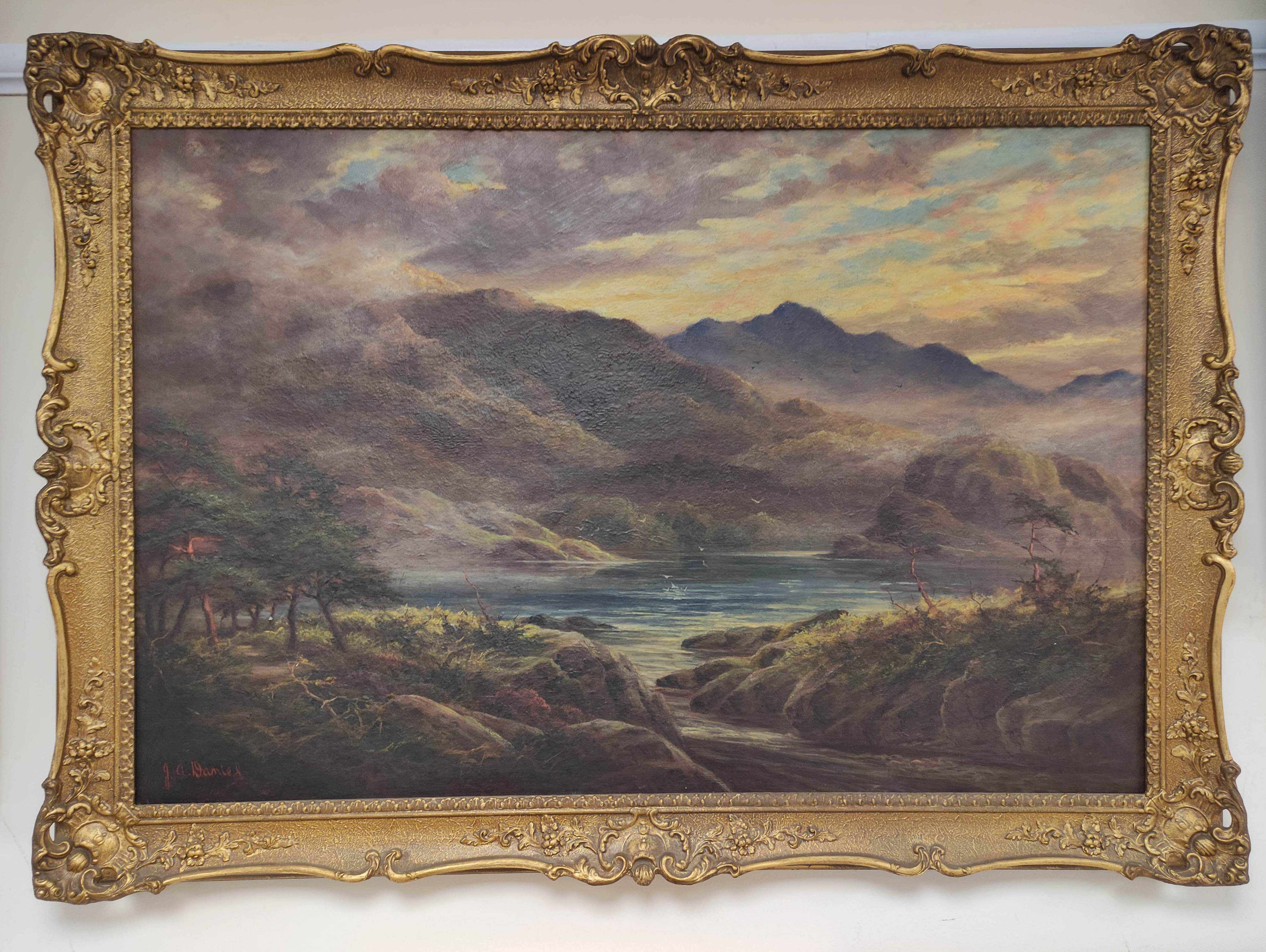 J. A. DANIEL. Loch Aylort. Signed, oil on canvas. 60cm x 90cm.