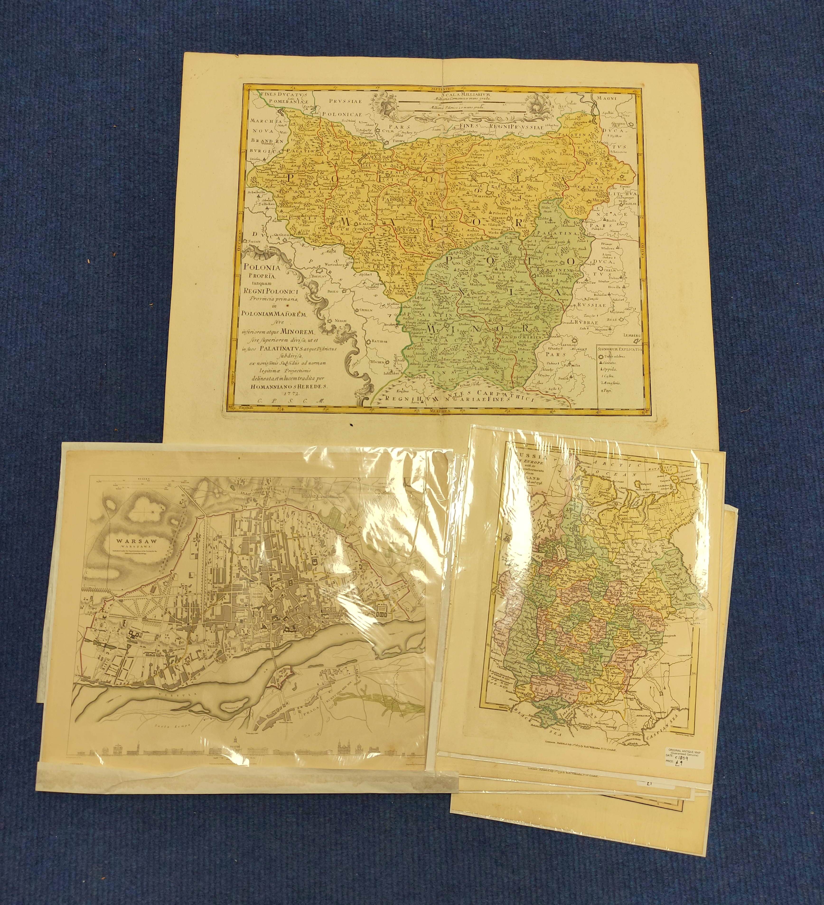 HOMANNIANO HEREDES (Pubs.)Polonia. Hand col. dbl. pge. eng. folio map. 1772; also 5 other eng. maps