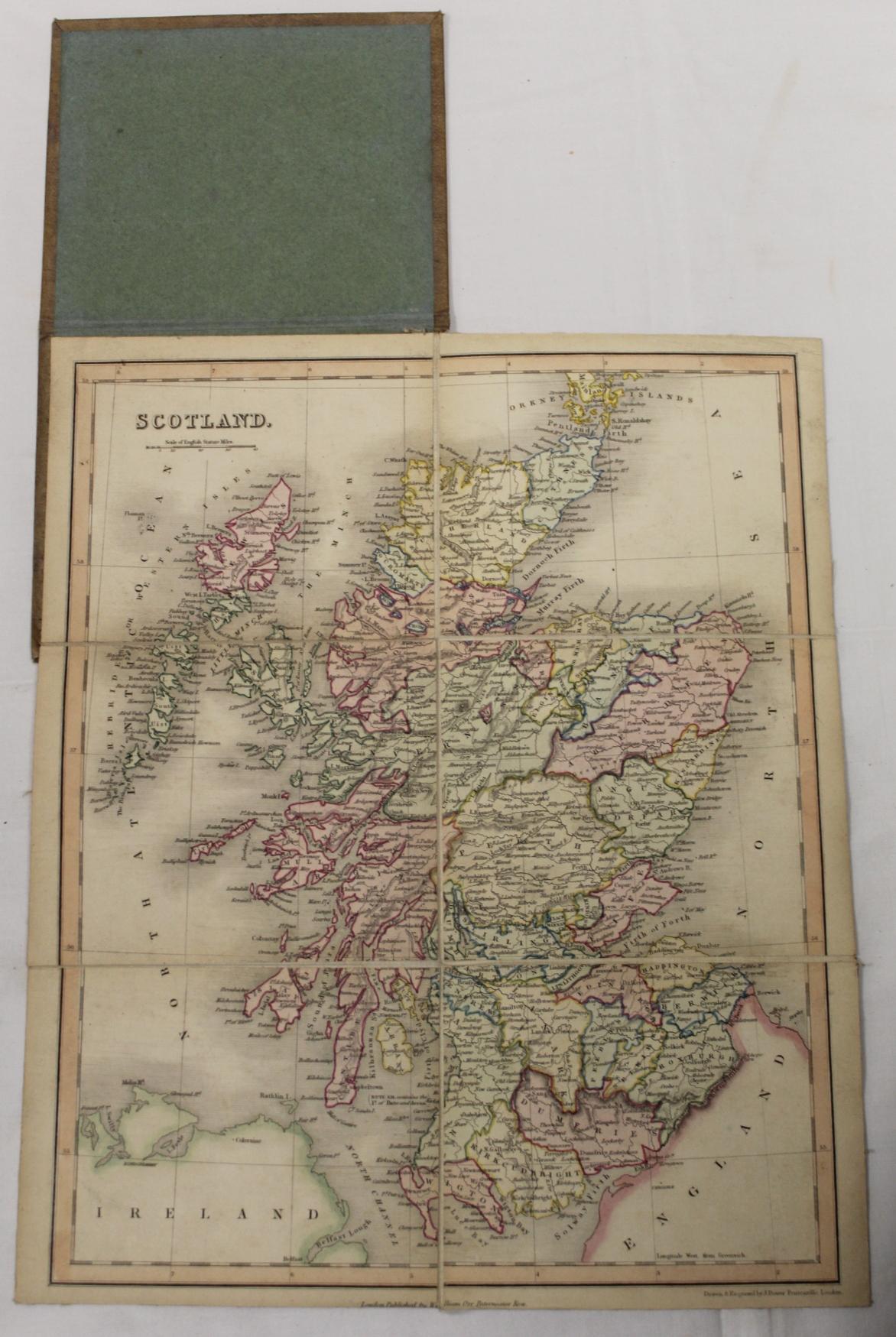 KIRKWOOD J. & SONS.Map of Scotland. Hand col. eng. fldg. linen map in well worn orig. slip case. - Image 19 of 36