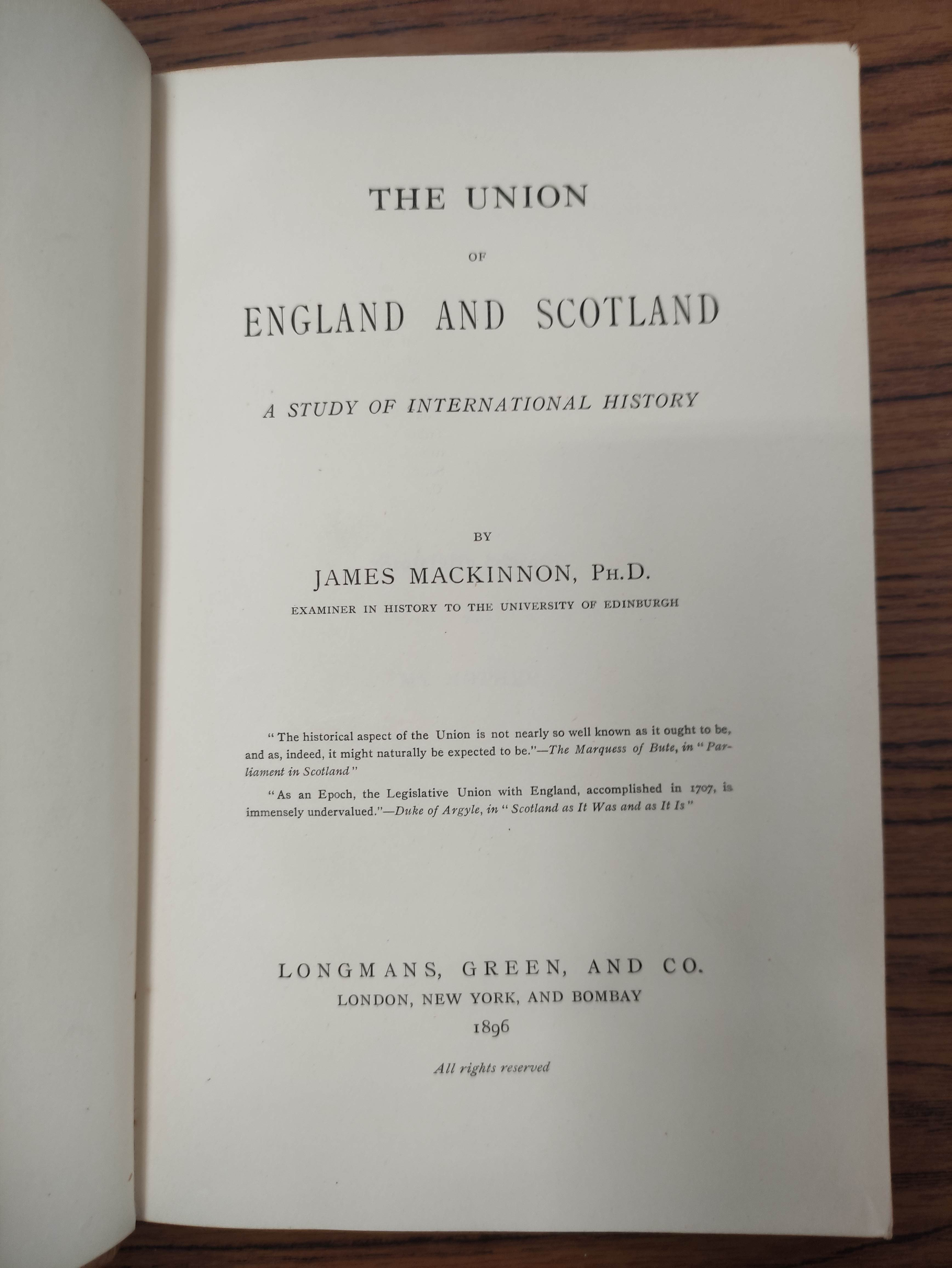 MACKINNON JAMES.The Union of England & Scotland. Half calf. 1896; also 9 others re. Scottish - Image 6 of 8