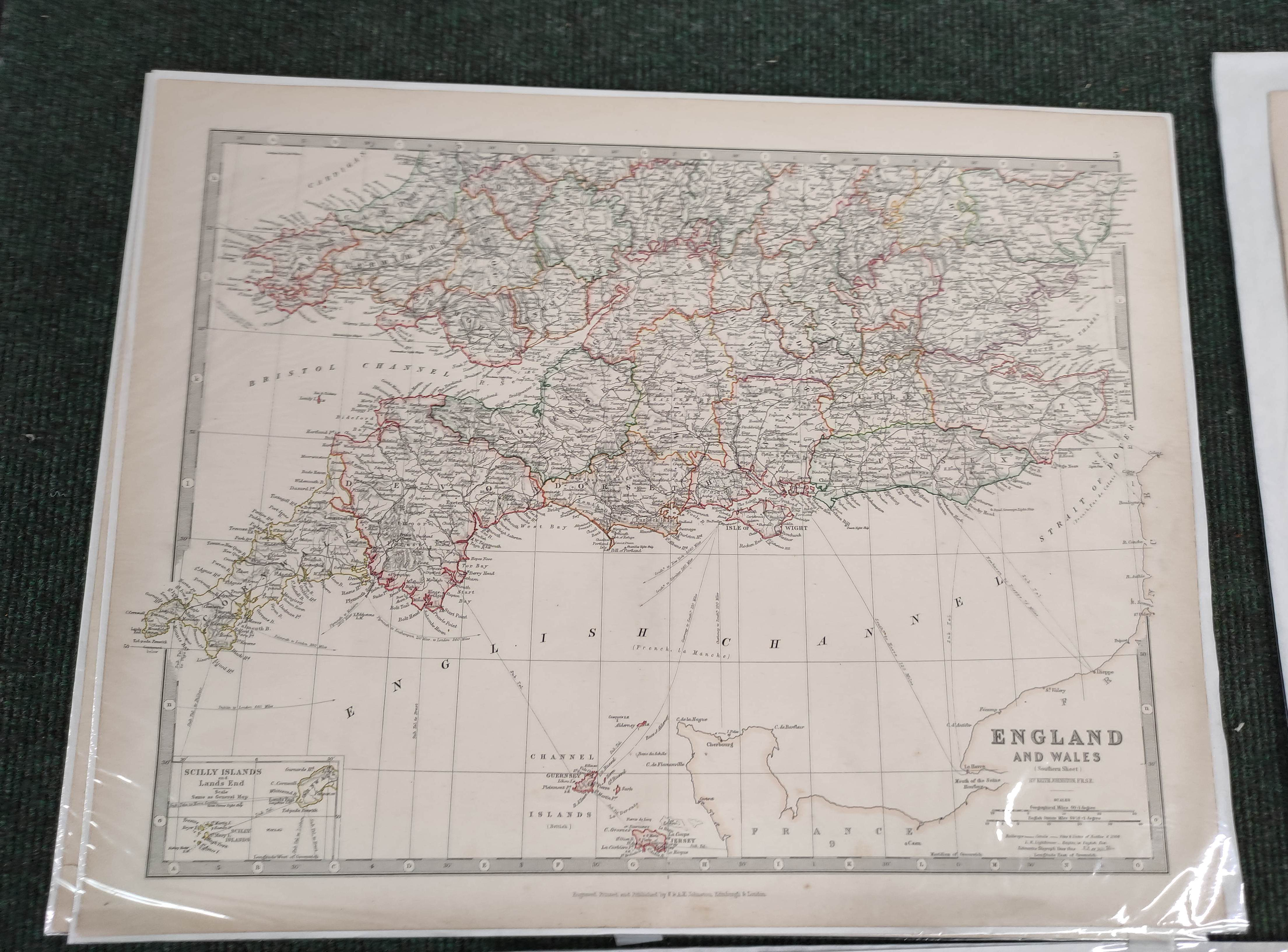 Engraved Maps.2 hand coloured eng. double maps of Ireland & Scotland by S. Augustus Mitchell, - Image 4 of 7