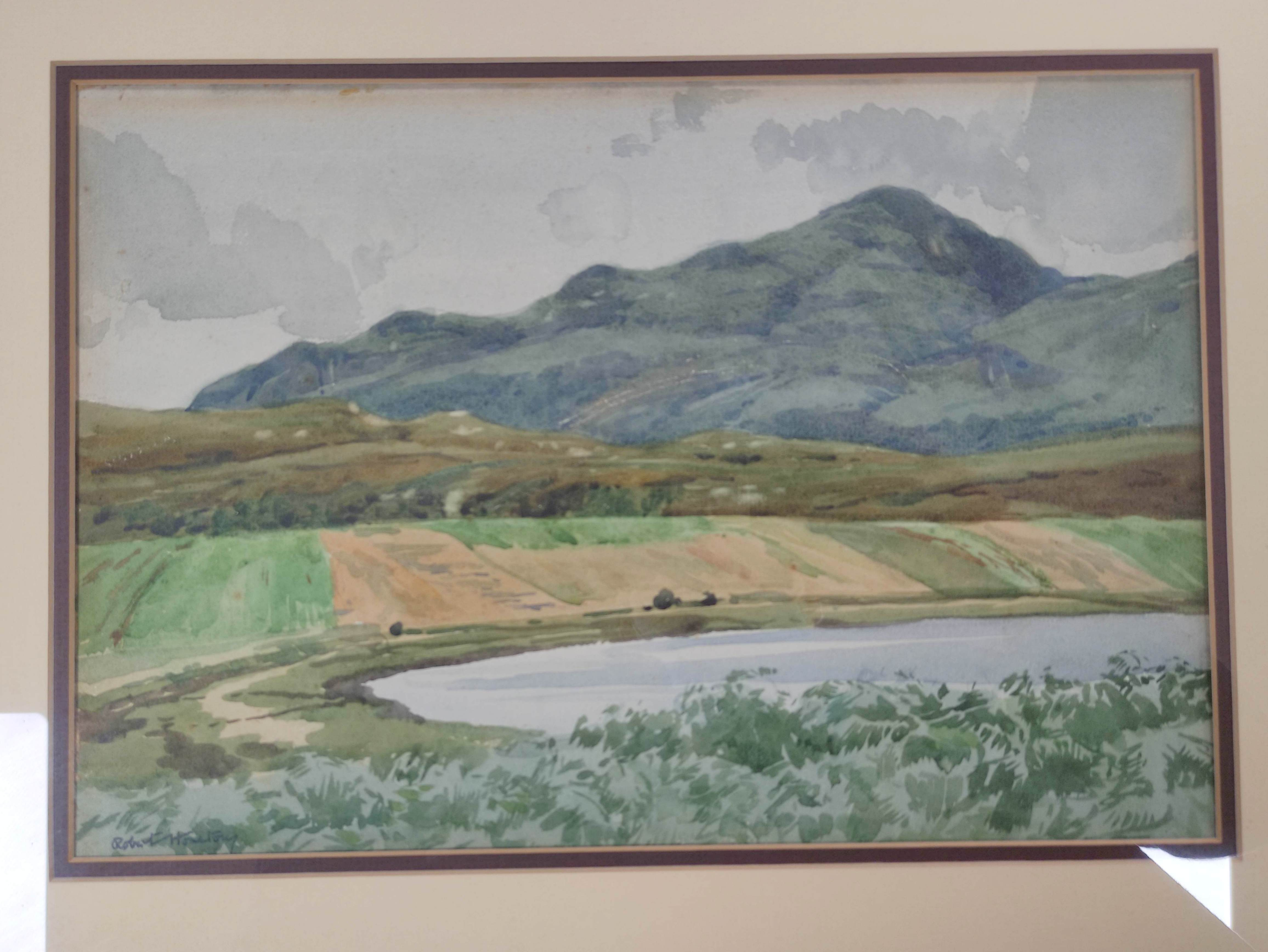 ROBERT HOUSTON. Beinn na Caillich, Skye. Signed, watercolour. 24cm x 34cm. - Image 2 of 5