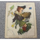 """(LANCASTER LILIAN & """"ALEPH"""", WILLIAM HARVEY).Anthropomorphic colour map of Scotland from"""