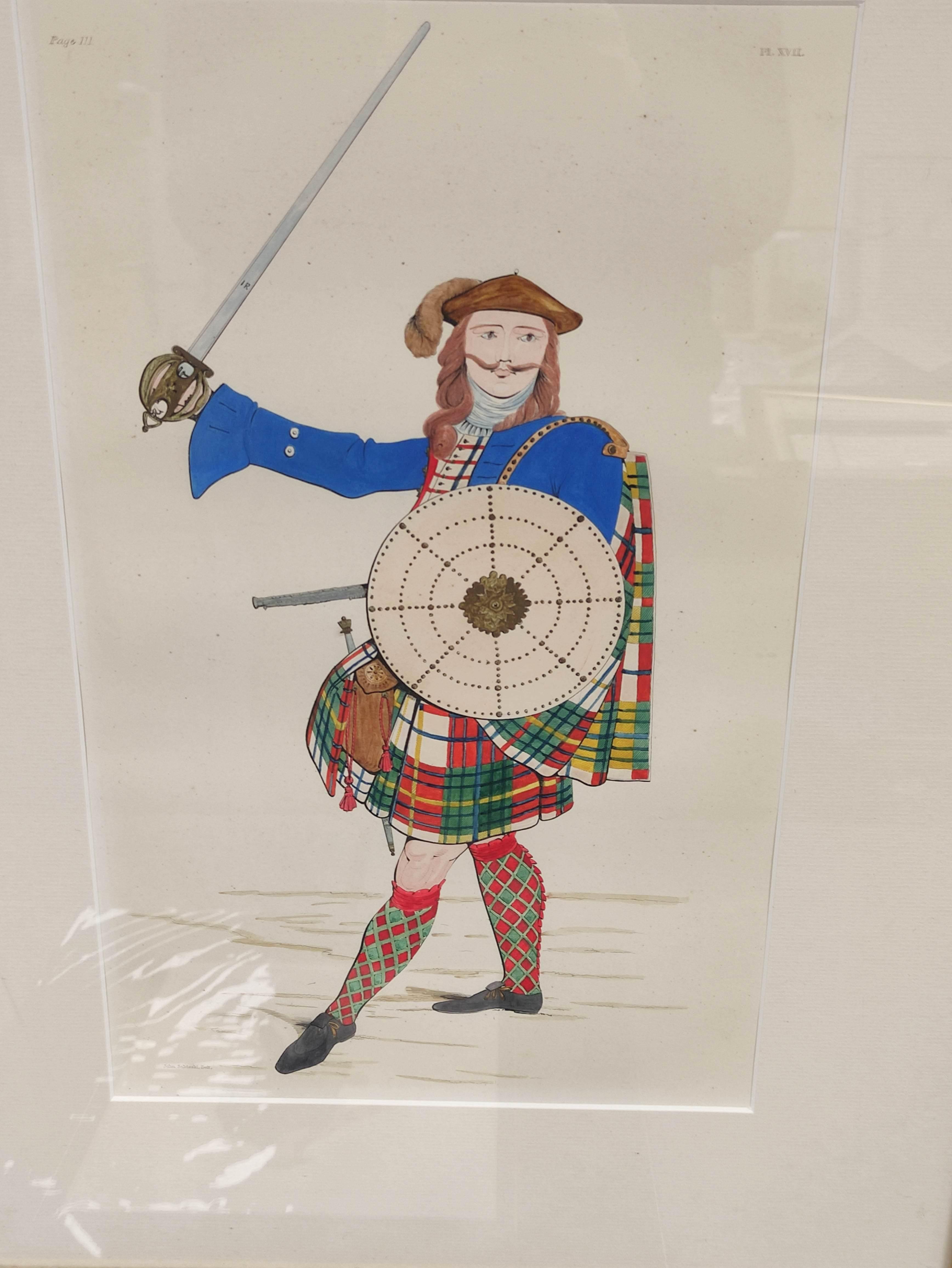 Highland Costume.4 hand coloured engraved plates, 2 framed. - Image 3 of 6