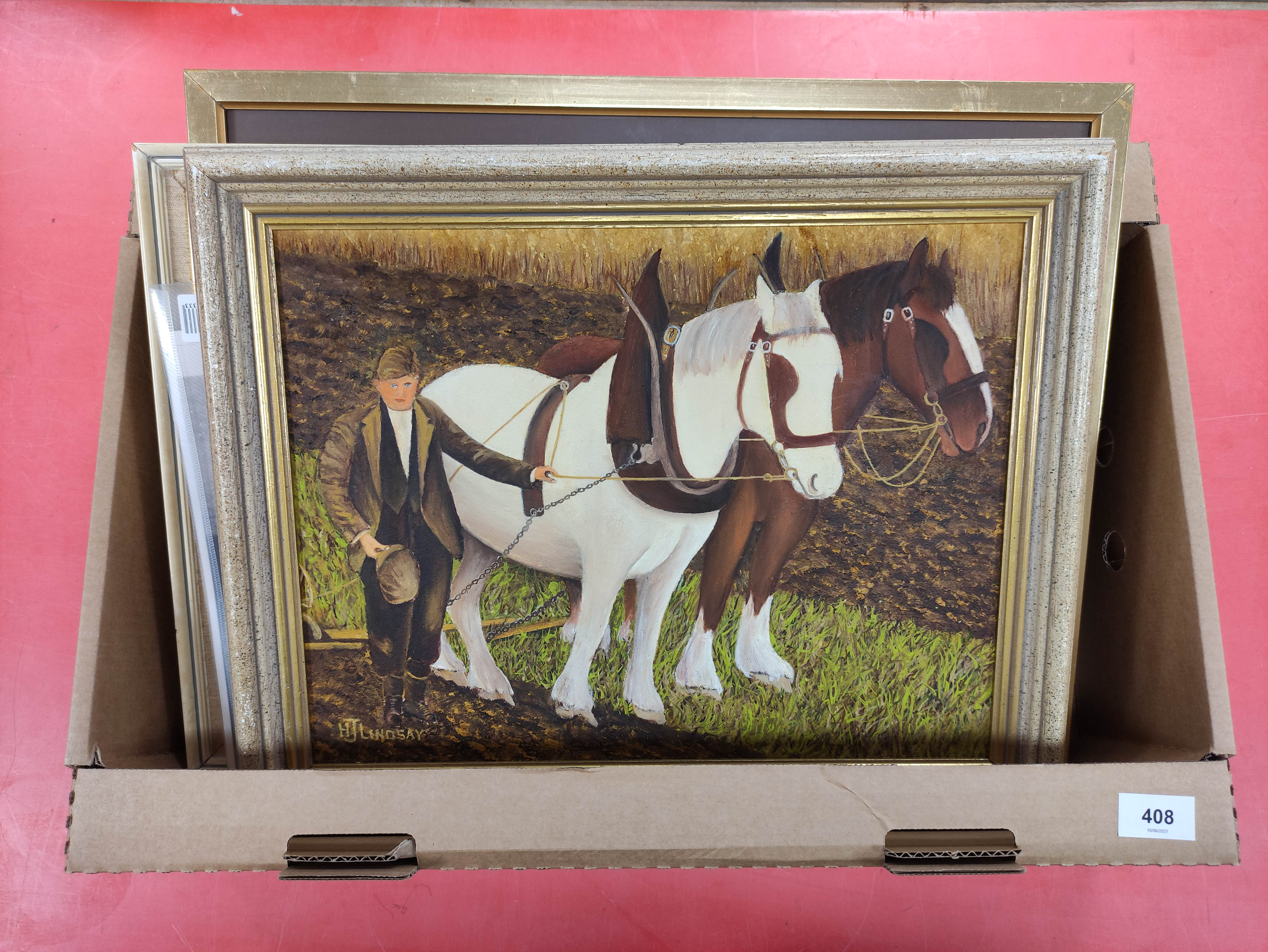 H. J. LINDSAY. 2 naive oils on board of farming life in Skye & various other pictures & prints